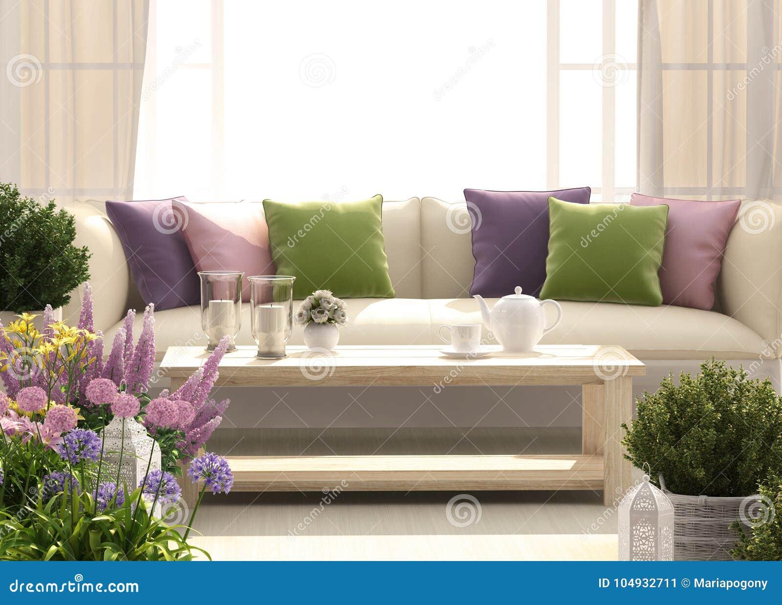 Mooi terras met bank en bloemen stock illustratie illustratie