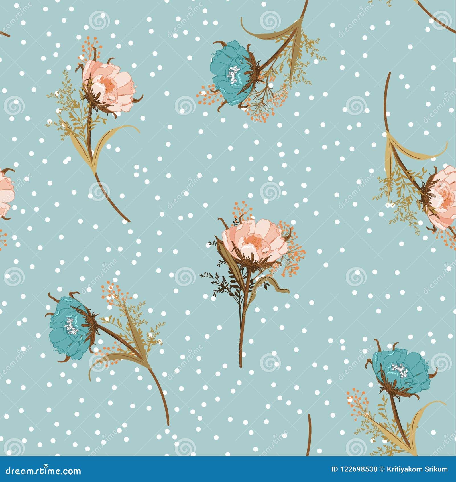Mooi uitstekend de bloemen naadloos patroon van de pastelkleur Blazend tuin