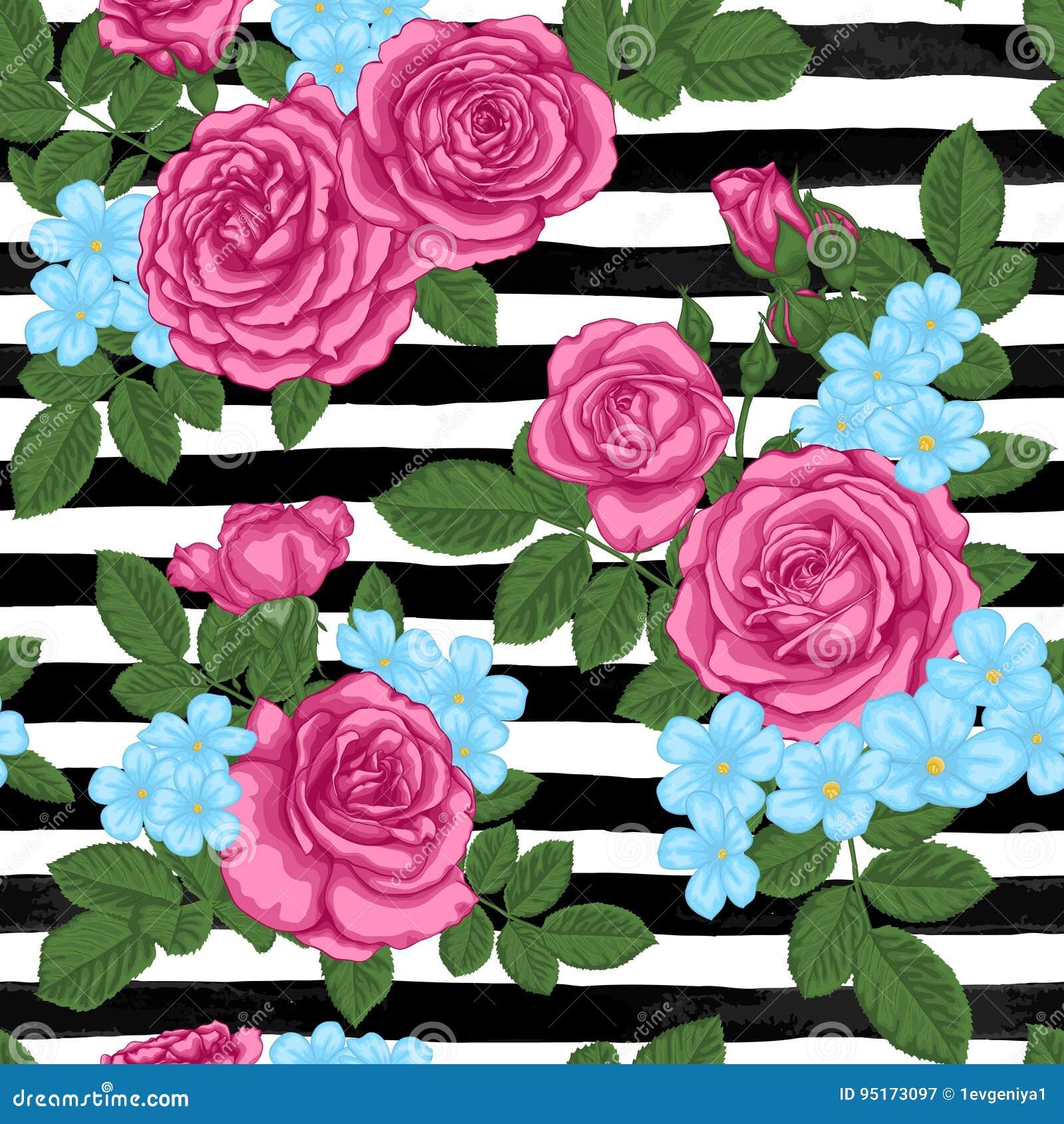 Mooi uitstekend naadloos patroon met rosebuds, bladeren en stammen op zwart-witte waterverfstrepen