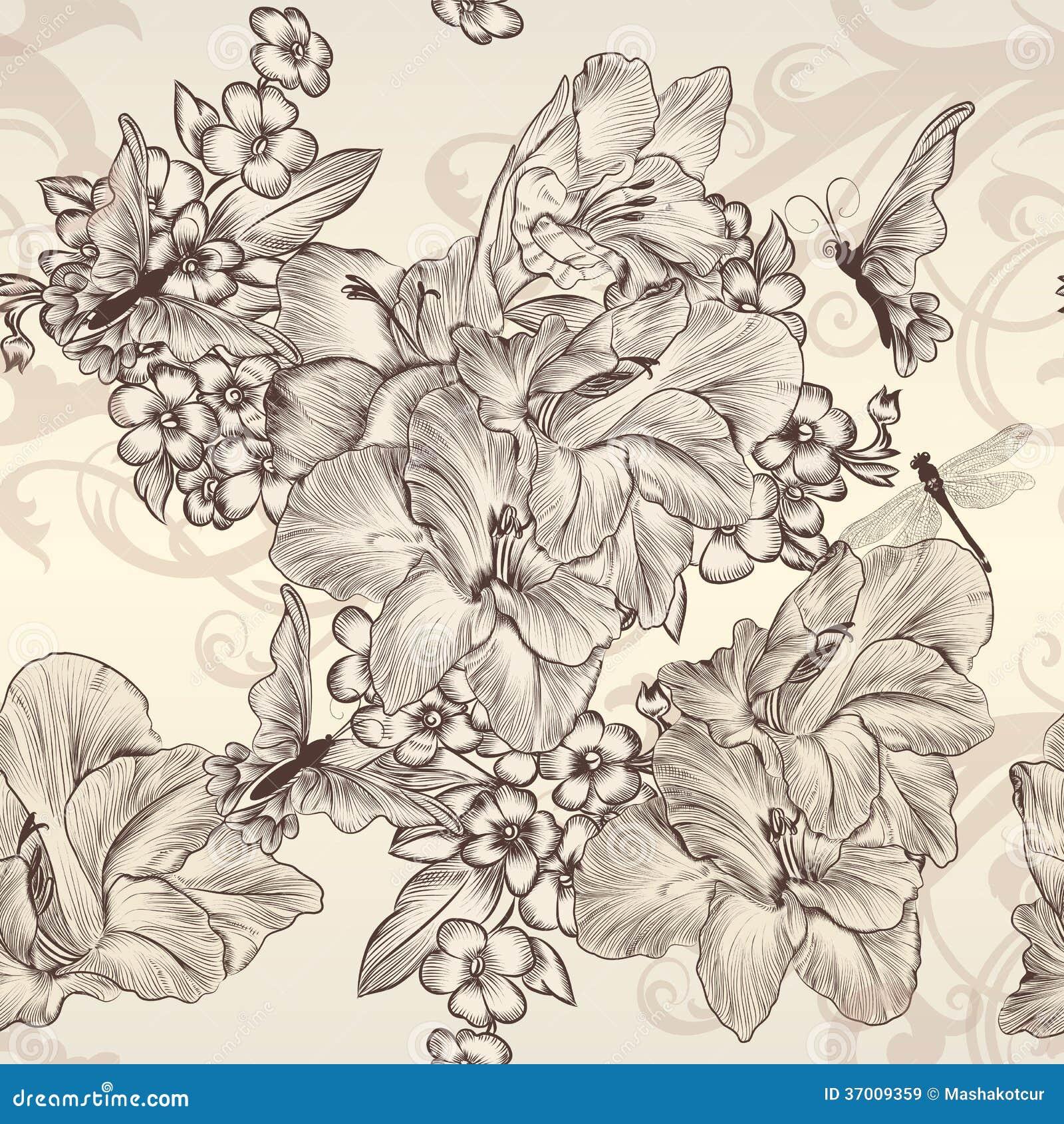 Mooi vector naadloos behang met bloemen in uitstekende styl royalty vrije stock afbeeldingen - Behang grafisch ontwerp ...