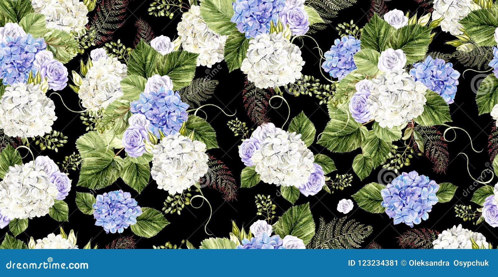 Mooi waterverfpatroon met rozen en hudrangeabloemen