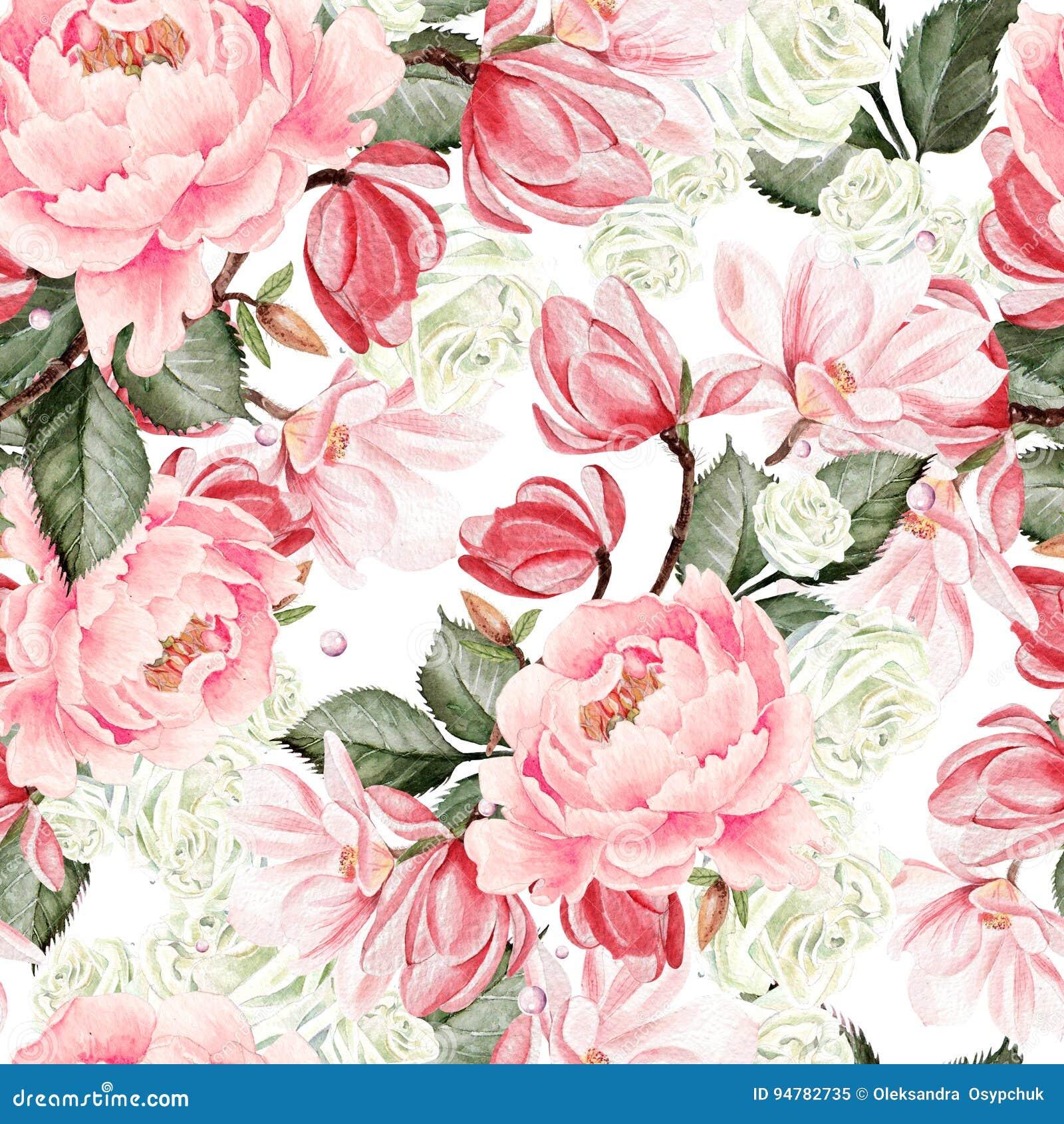 Mooi waterverfpatroon met rozen, pioen en magnoliabloemen