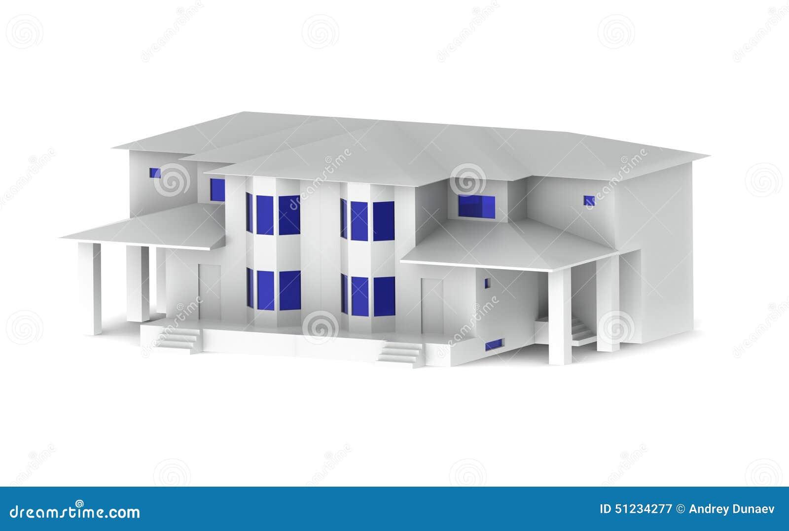 Mooi wit huis met blauwe vensters op een witte achtergrond stock illustratie beeld 51234277 - Mooi huis ...