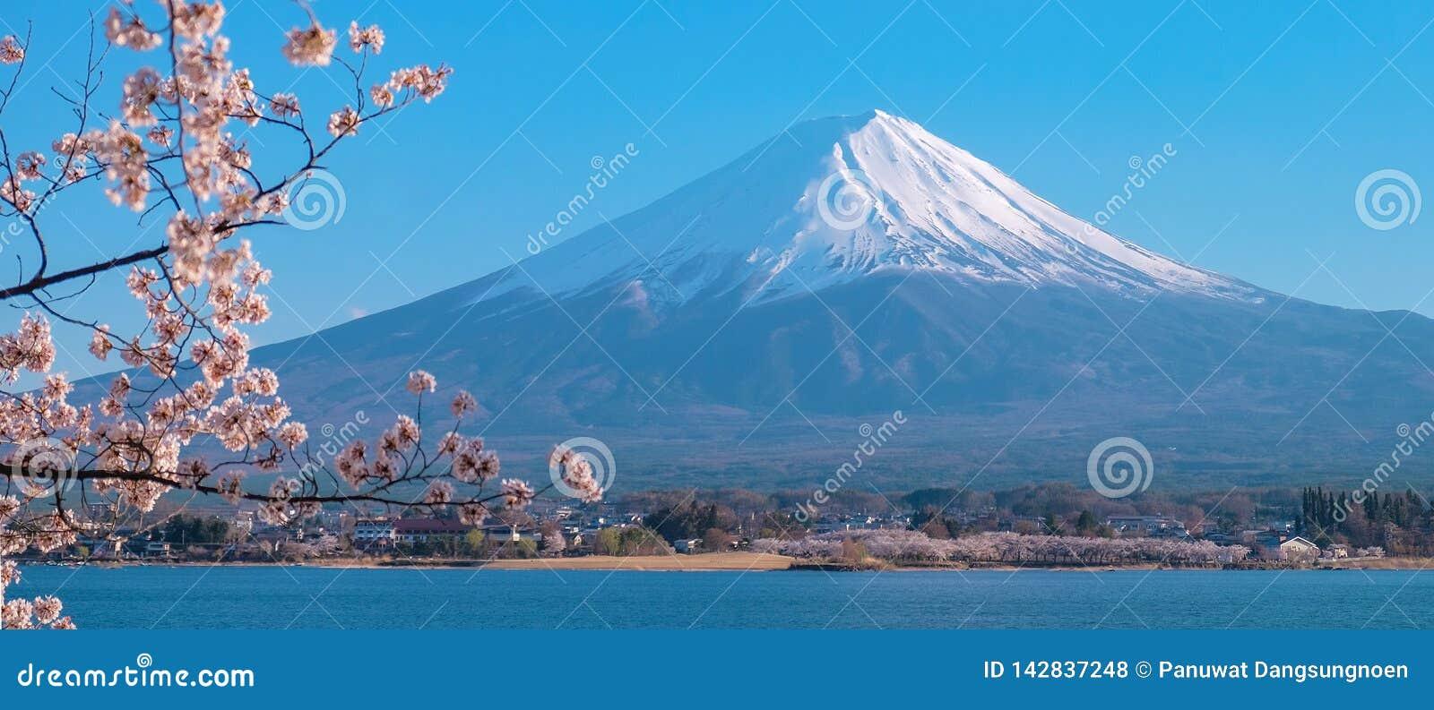 Mooi zet Fuji met sneeuw en blauwe hemel op bij Meerkawaguchiko wordt afgedekt, Japan dat