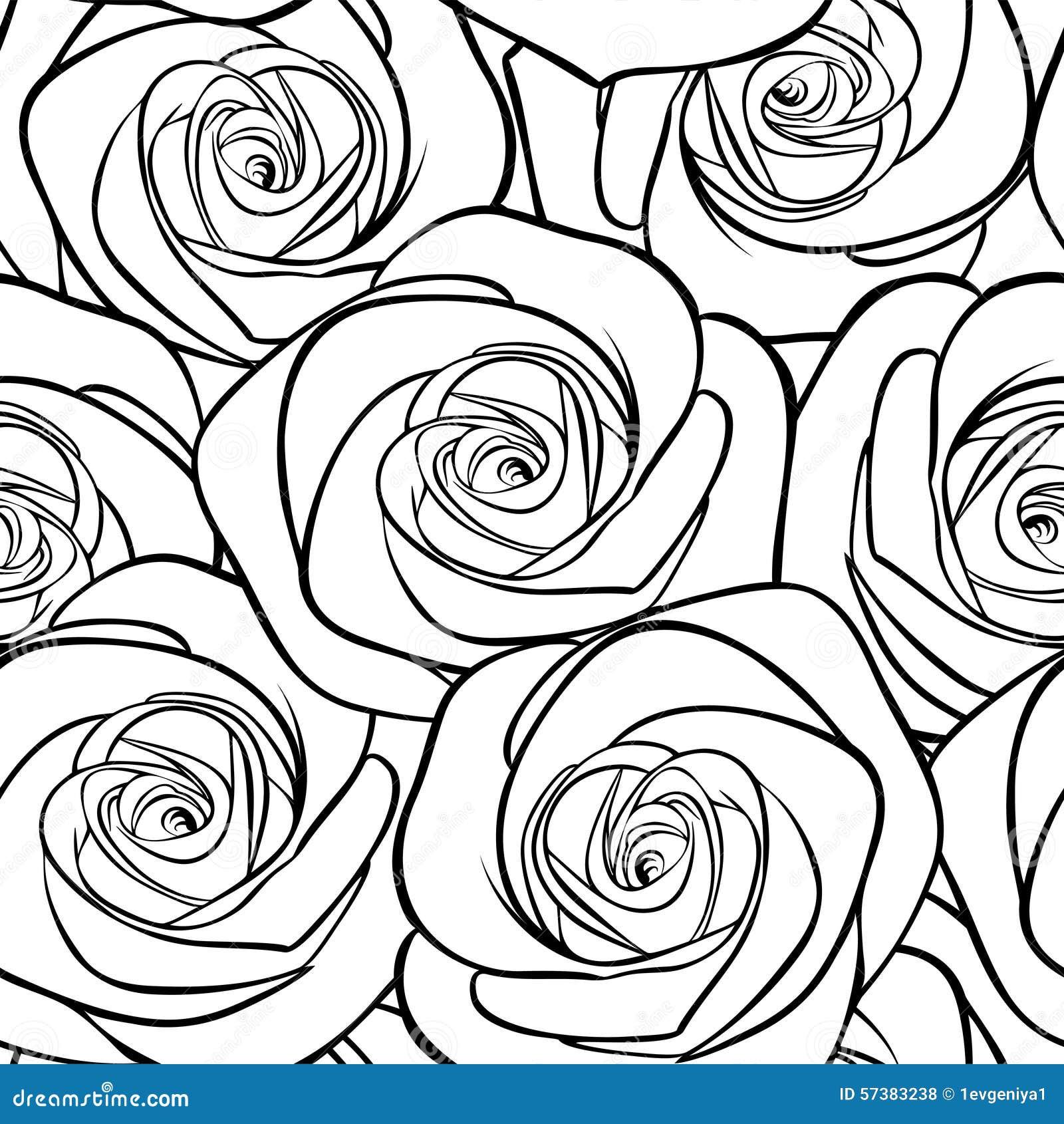 Mooi zwart-wit naadloos patroon in rozen met contouren