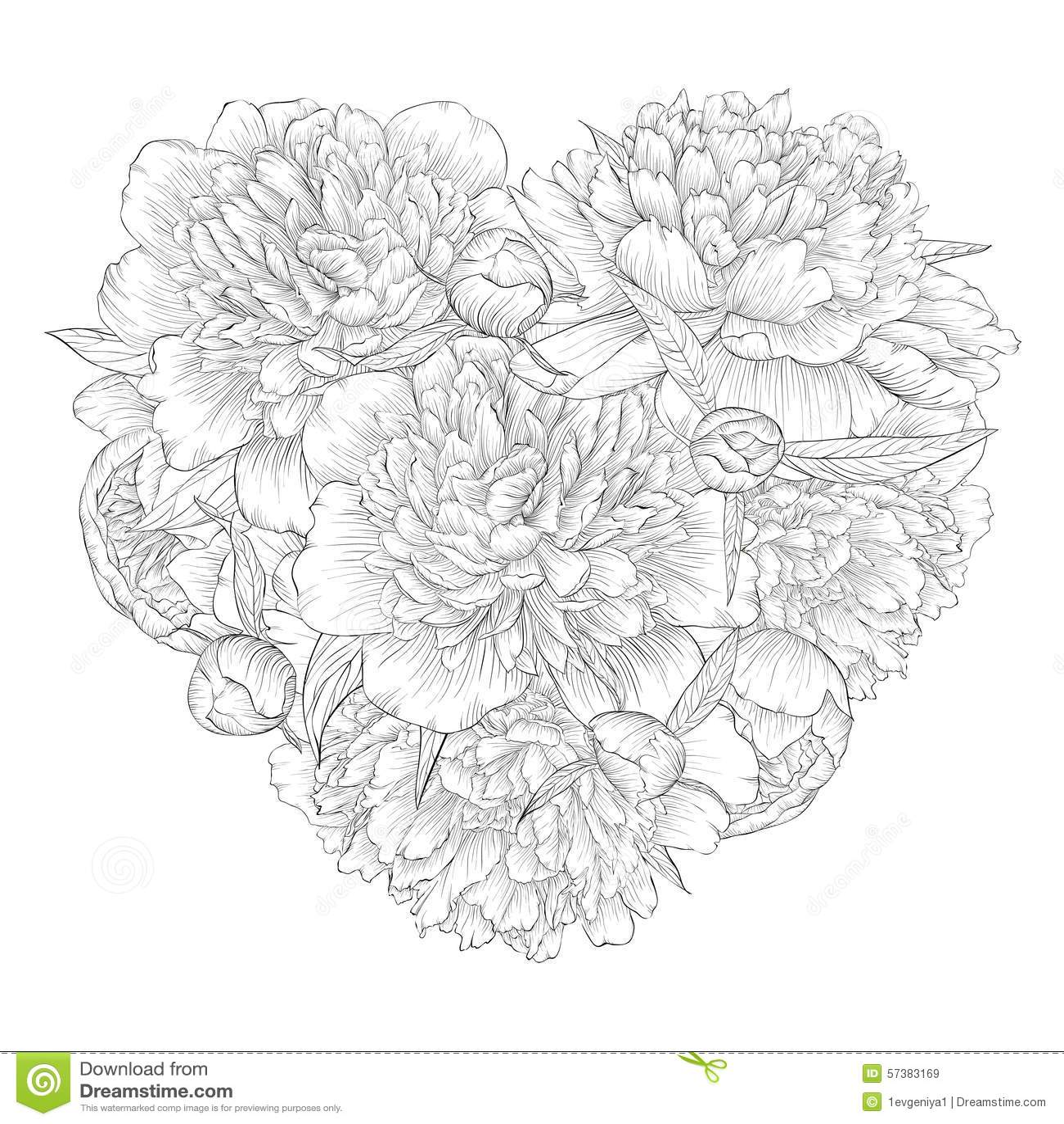 Mooi zwart-wit zwart-wit die hart door bloemenpioen wordt verfraaid Ik houd van u