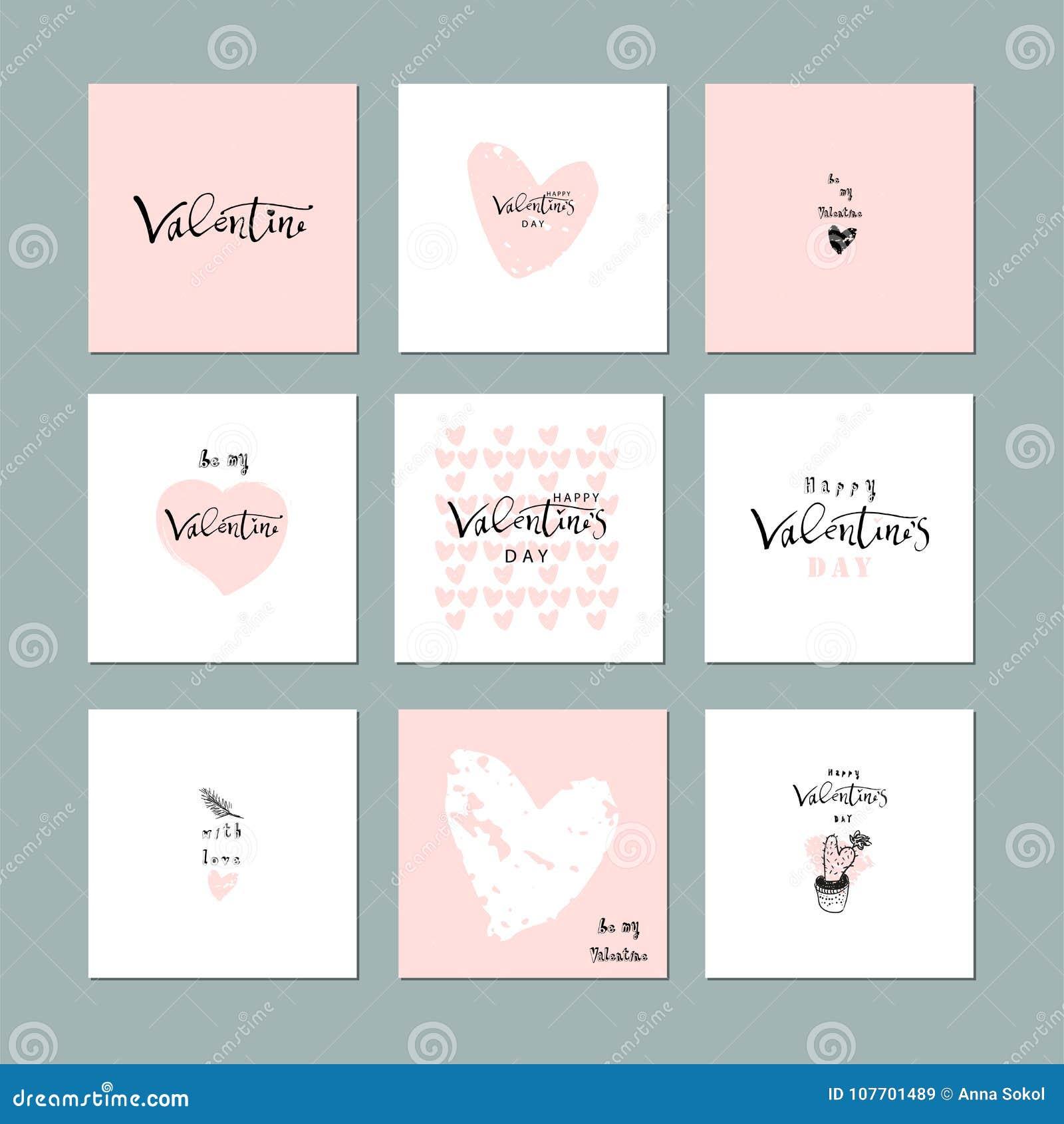 Mooie Abstracte Hand Getrokken Groetkaarten met traditionele symbolen van de Dag van Valentine Leuke beeldverhaal zachte achtergr