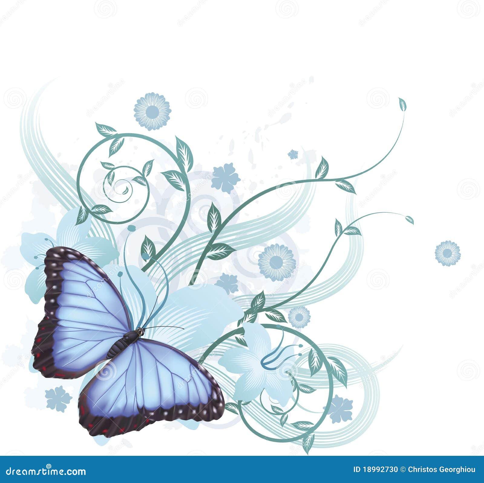 Mooie blauwe vlinderachtergrond