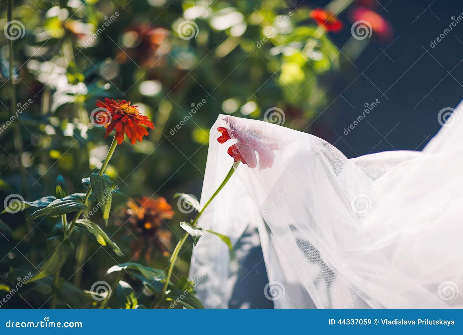 Mooie bruidssluier met bloemen
