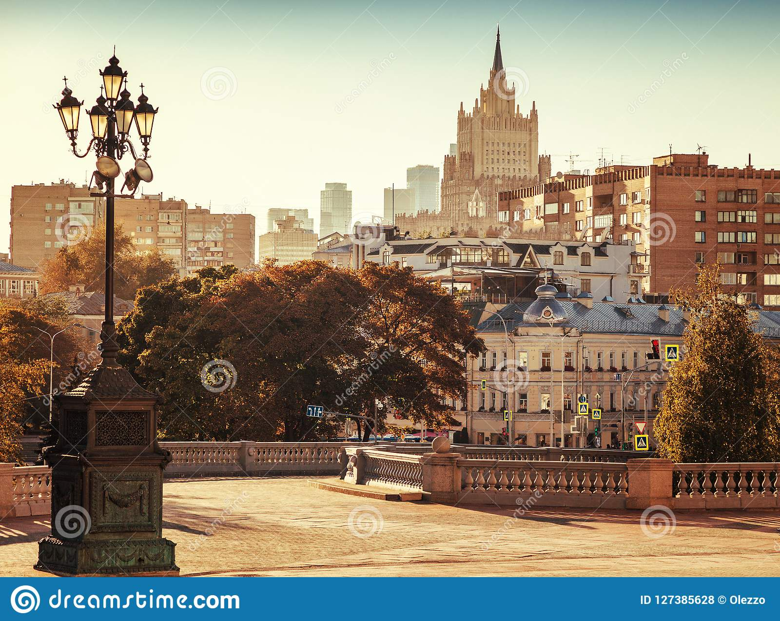 Mooie cityscape, de hoofdstad van Rusland, Moskou, stadscen