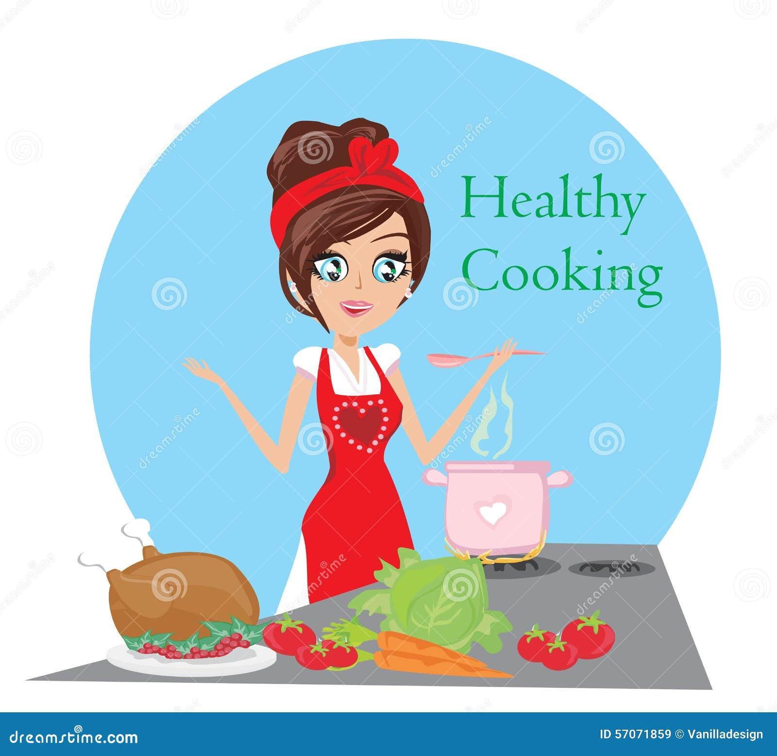 Mooie dame kokende soep en het dienen kip