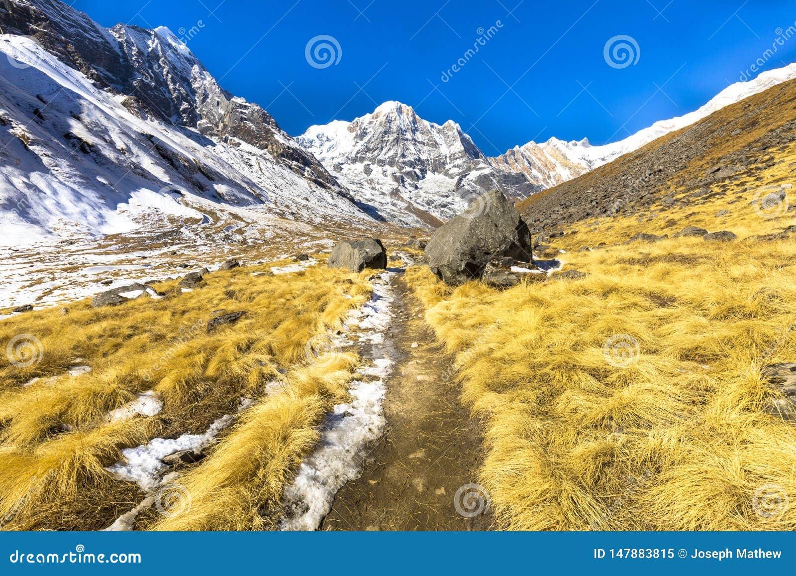 Mooie die Landschappen op de manier bij Annapurna-de Trekking van het Basiskamp worden gezien