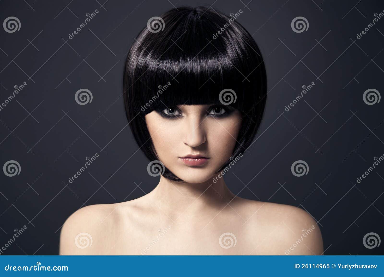 Mooie Donkerbruine Girl.Healthy Hair.Hairstyle.