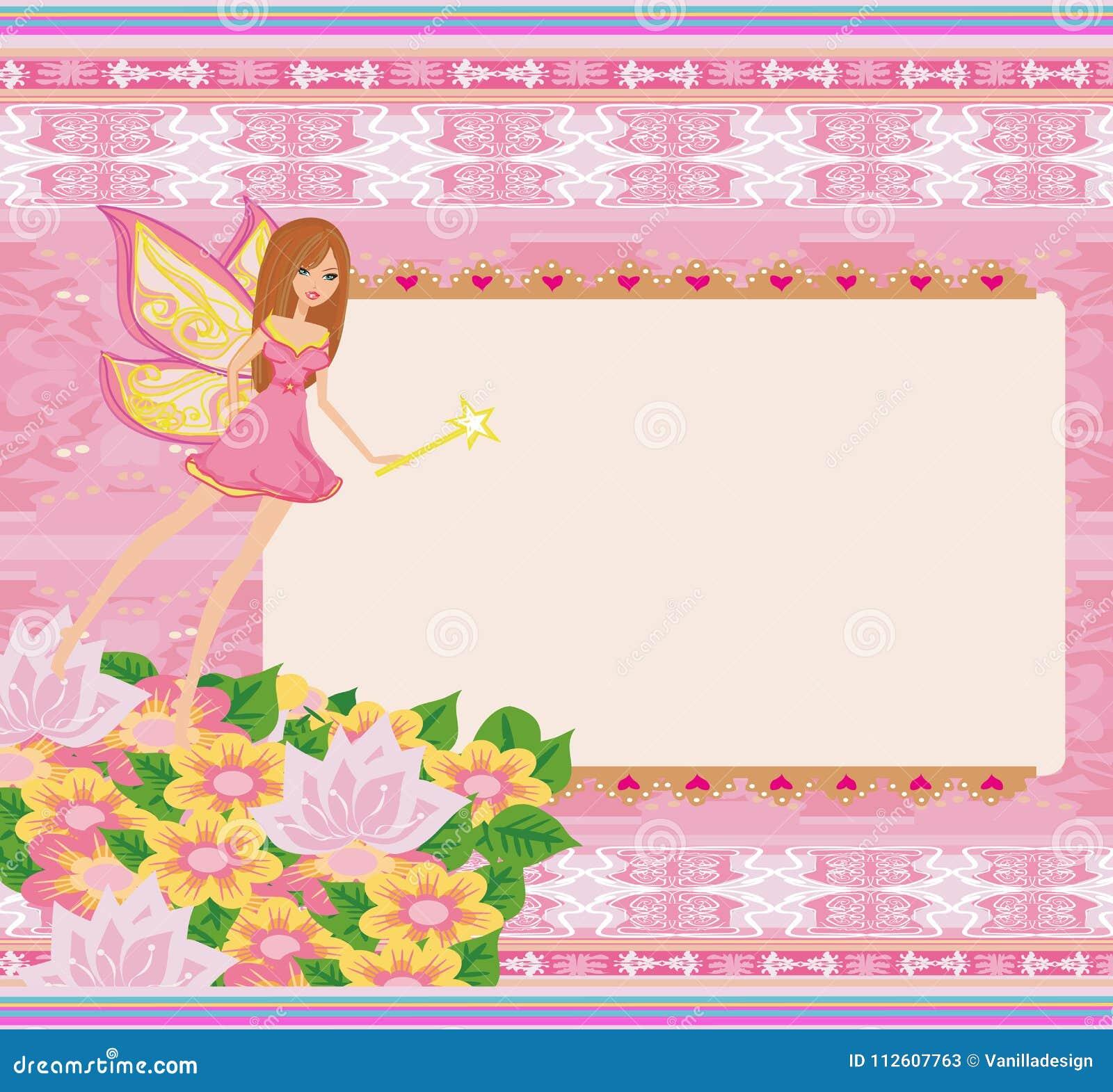 mooie fee leuke gelukkige verjaardagskaart vector illustratie