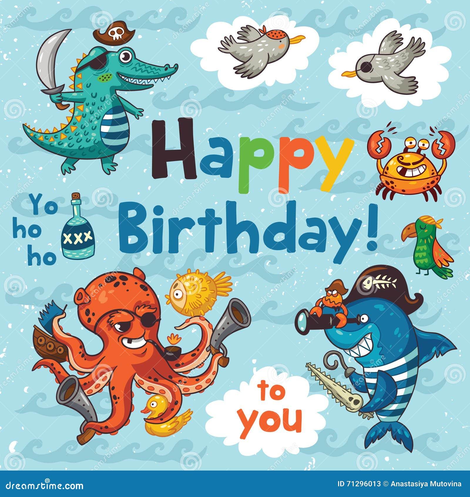Mooie Gelukkige Verjaardagskaart Met Piraten Vector Illustratie