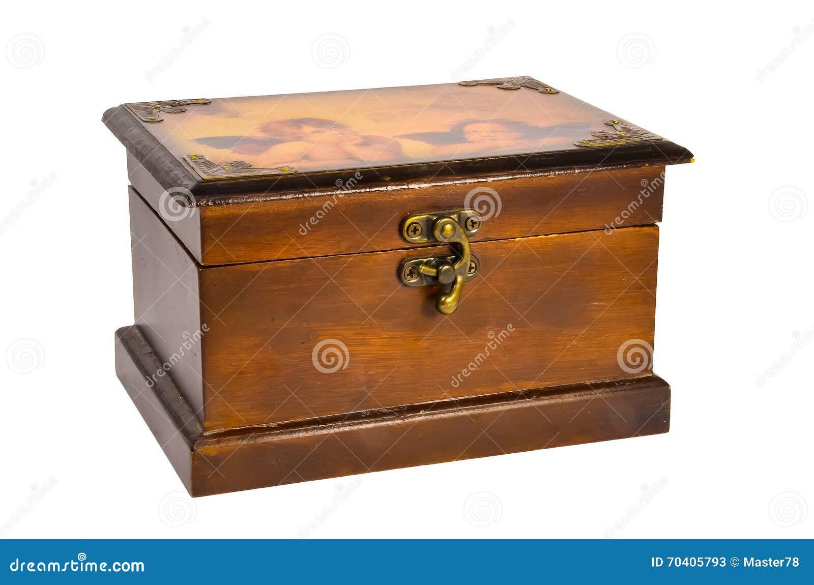 Mooie Houten Box.Mooie Houten Doos Met Twee Engelen Stock Afbeelding Afbeelding