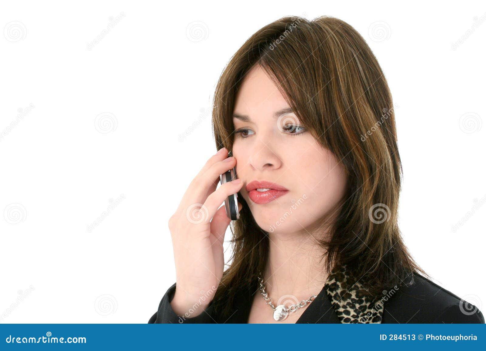Mooie Jonge Spaanse Vrouw op Cellphone