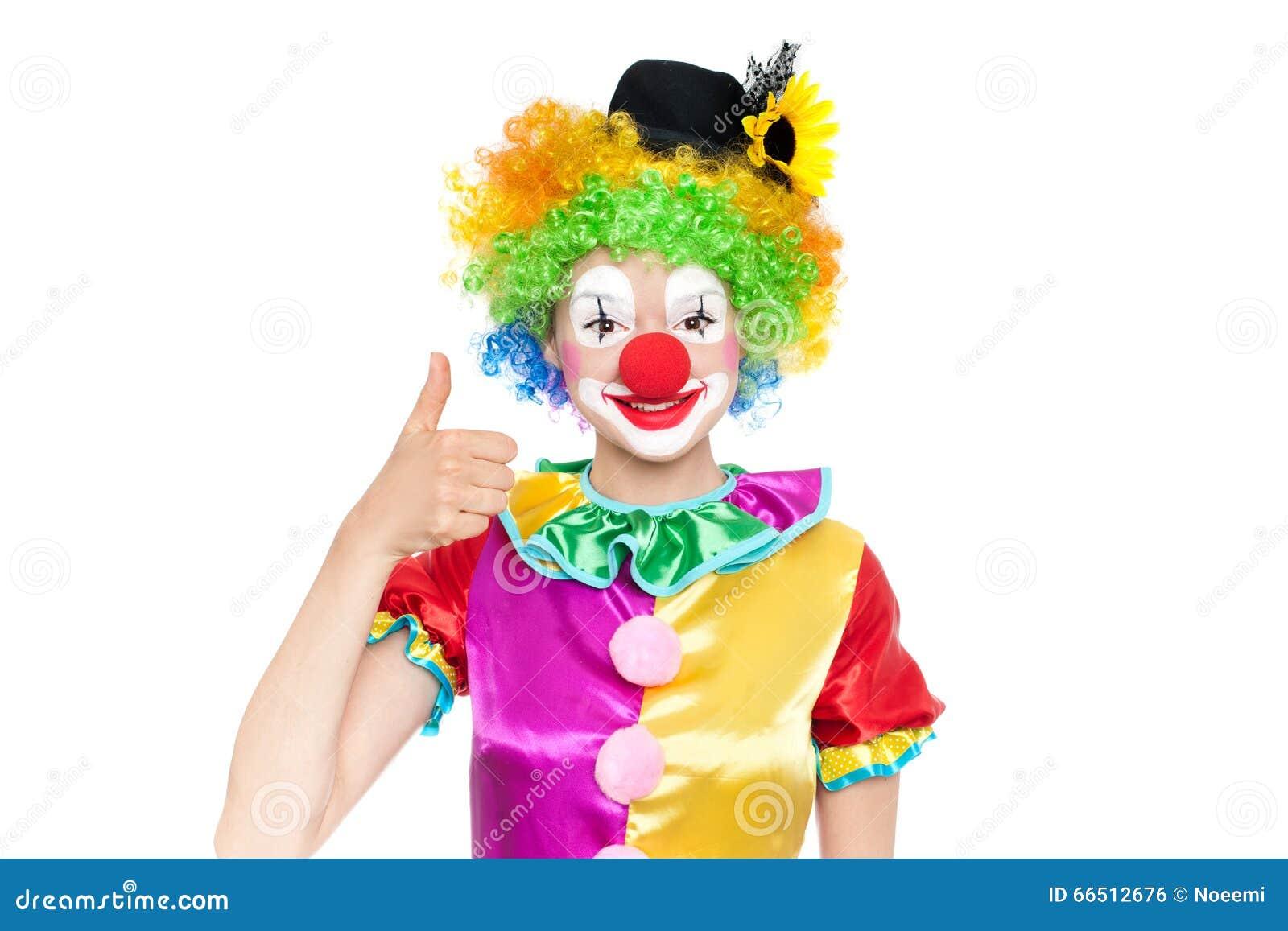 Mooie jonge vrouw als clown