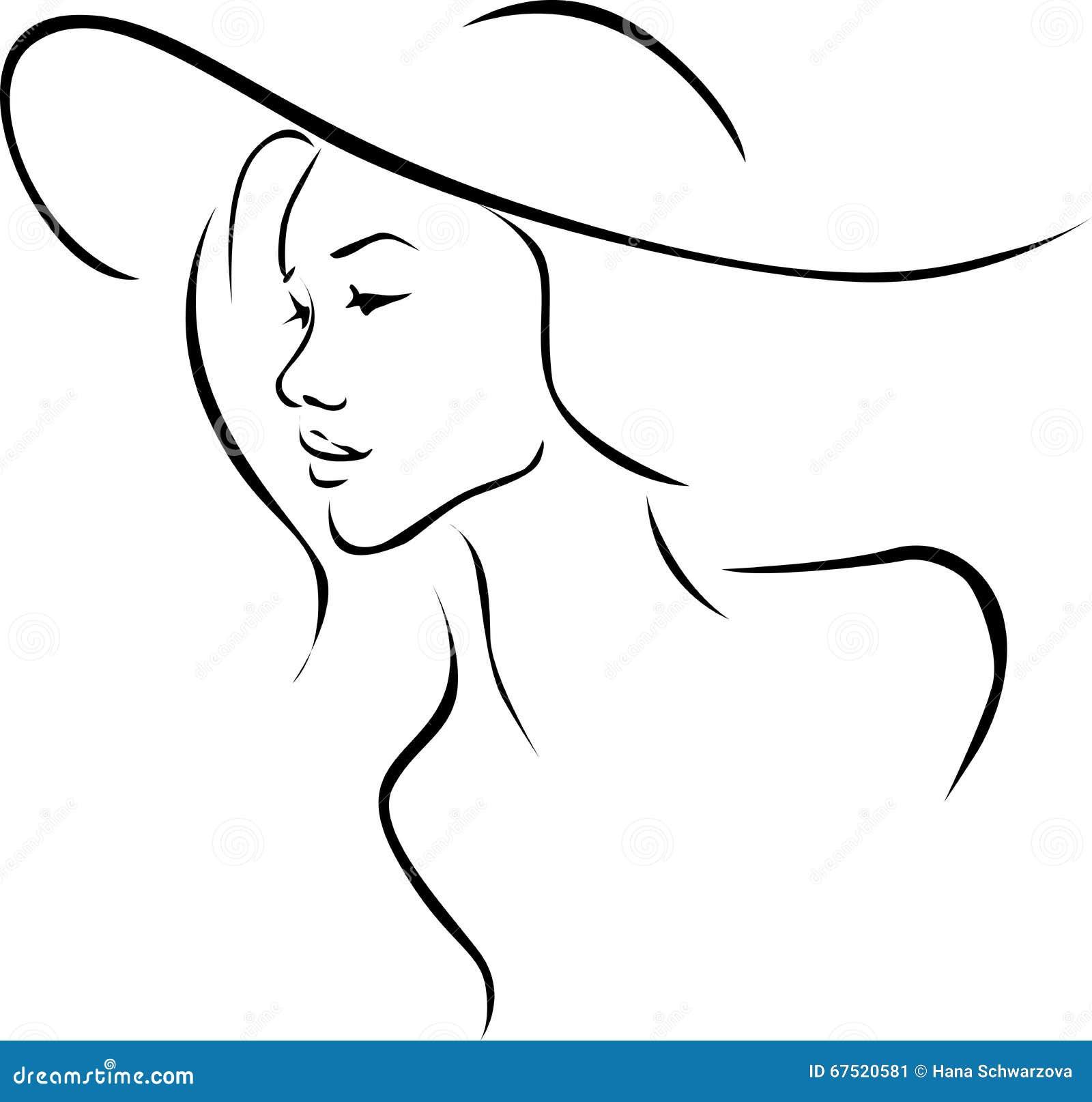 Line Drawing Face Profile : Mooie jonge vrouw met het profiel van de hoedenillustratie