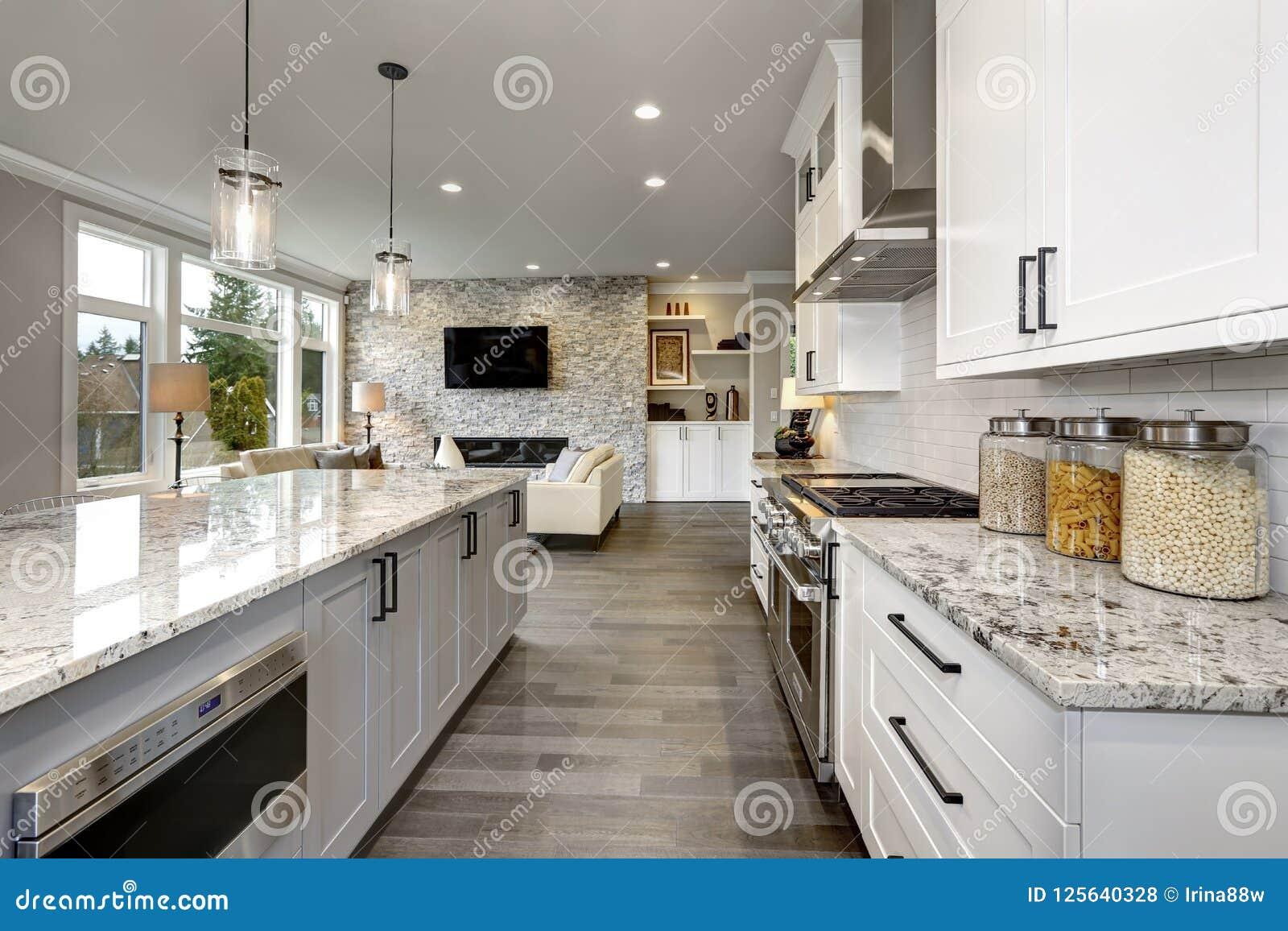 Mooie keuken in het moderne binnenland van het luxehuis met eiland en roestvrij staalstoelen