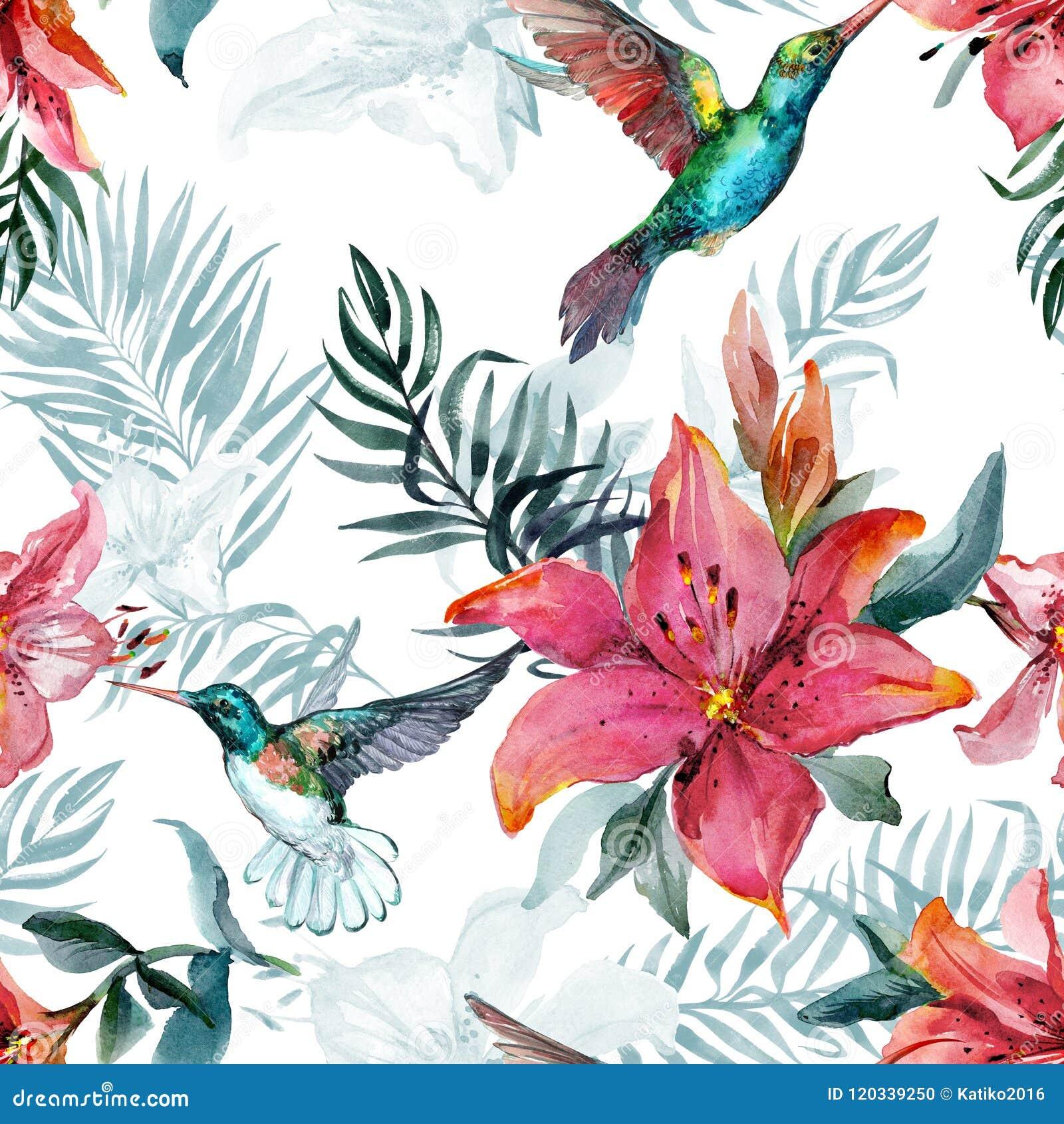 Mooie kleurrijke vliegende kolibries en rode leliebloemen op witte achtergrond Exotisch tropisch naadloos patroon