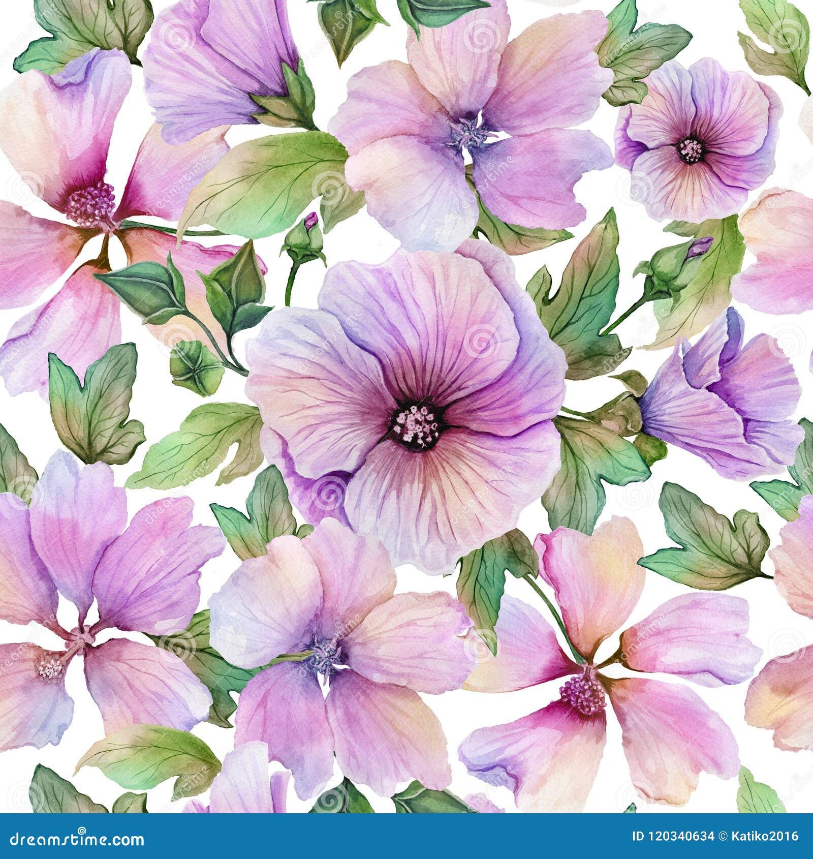 Mooie lavaterabloemen en bladeren met aders tegen witte achtergrond Naadloos BloemenPatroon Het Schilderen van de waterverf