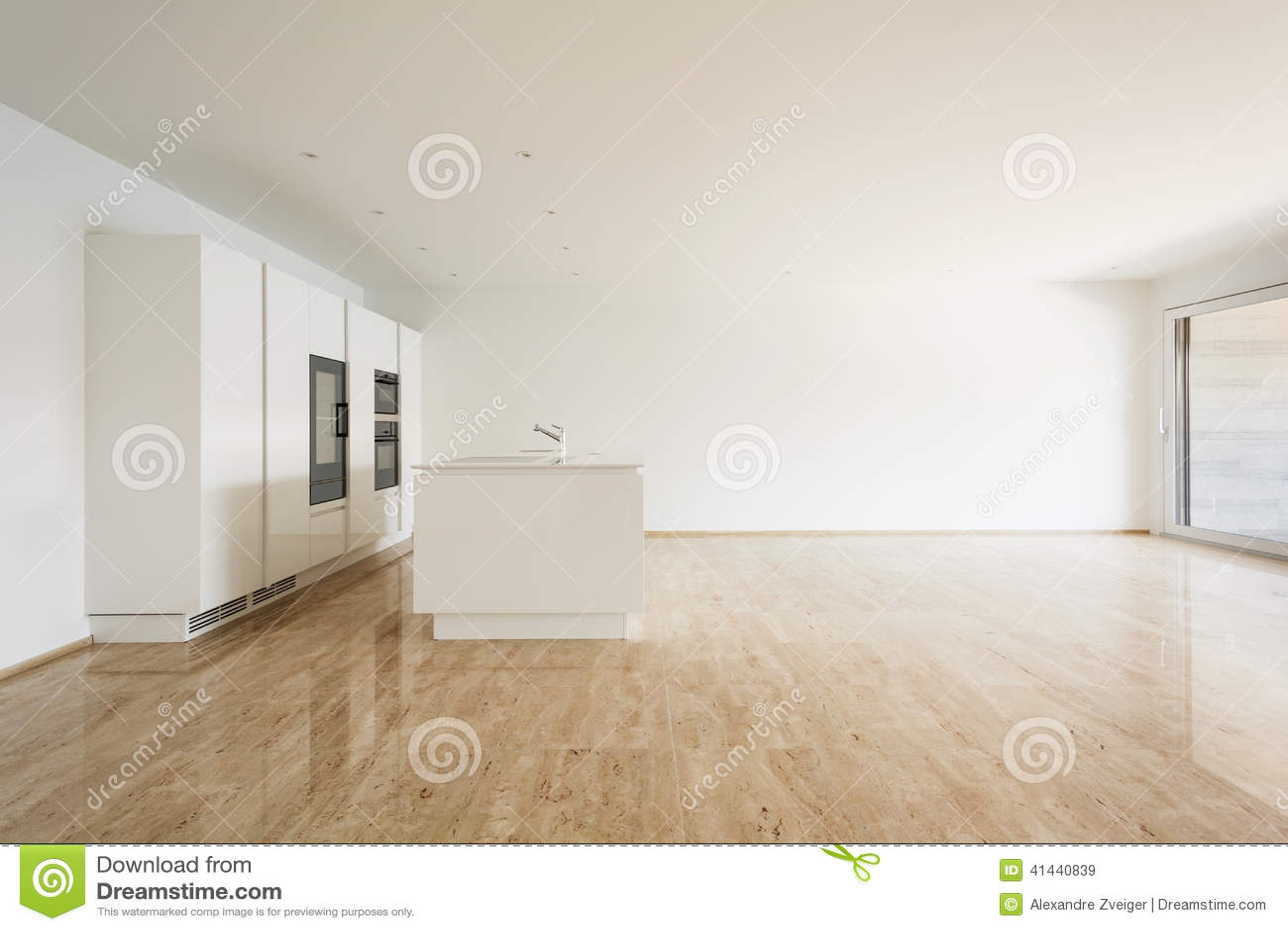 Mooie Witte Keuken : Mooie lege flat witte keuken stock afbeelding afbeelding