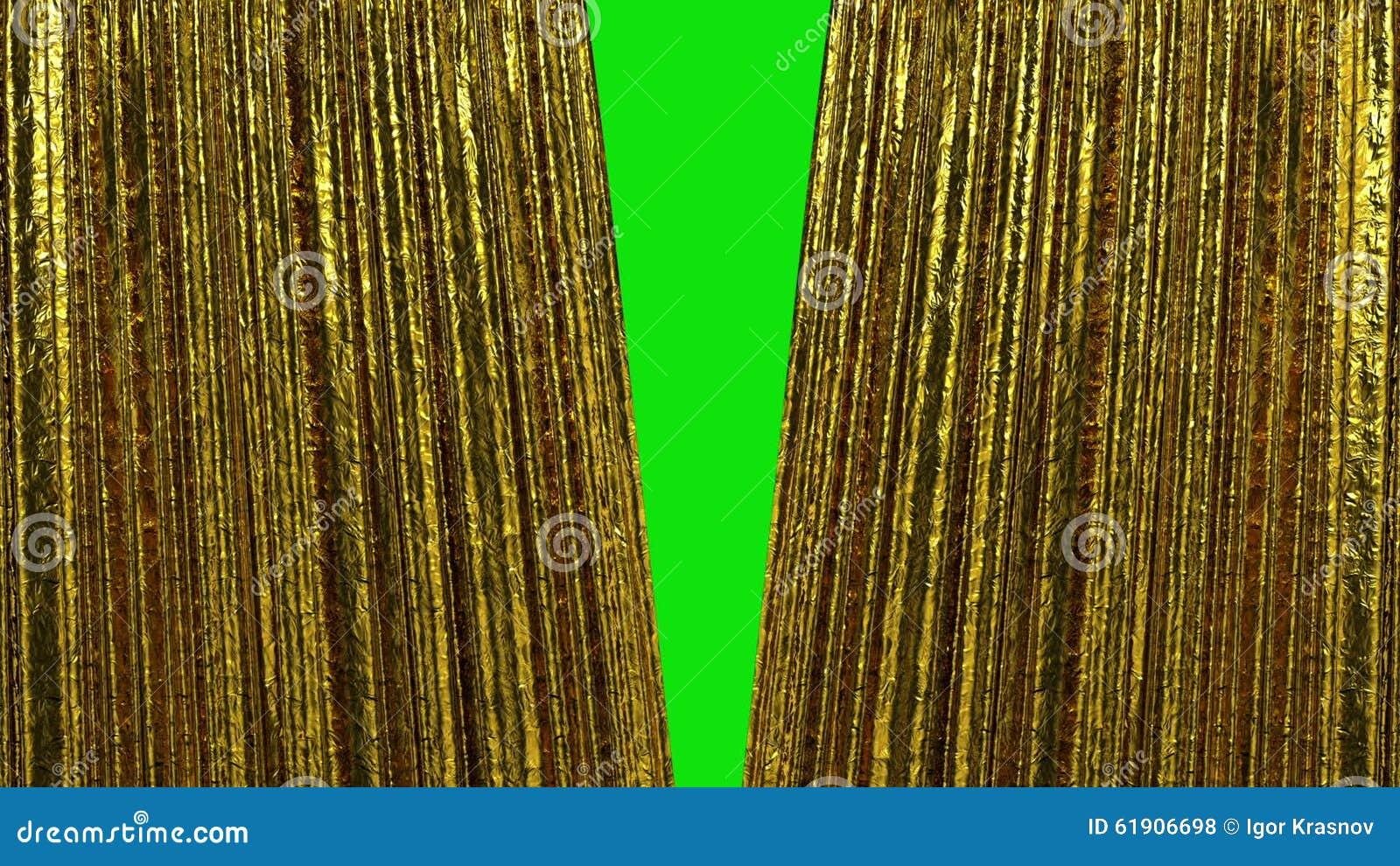 mooie luxe gouden gordijnen het openen en het sluiten 3d animatie hd 1080 het groene scherm stock footage video bestaande uit manier gouden 61906698