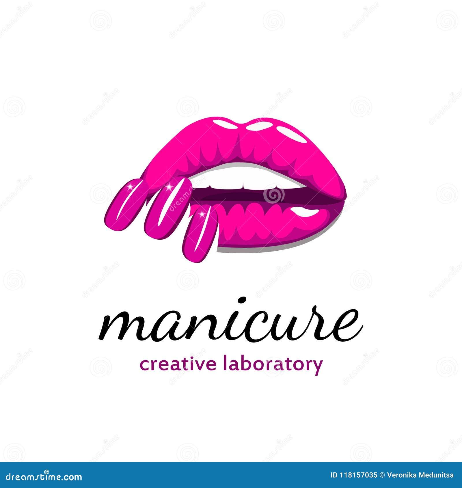 Mooie meisjeslippen met heldere roze manicurespijkers Schoonheidsembleem, banner, affiche Vector illustratie