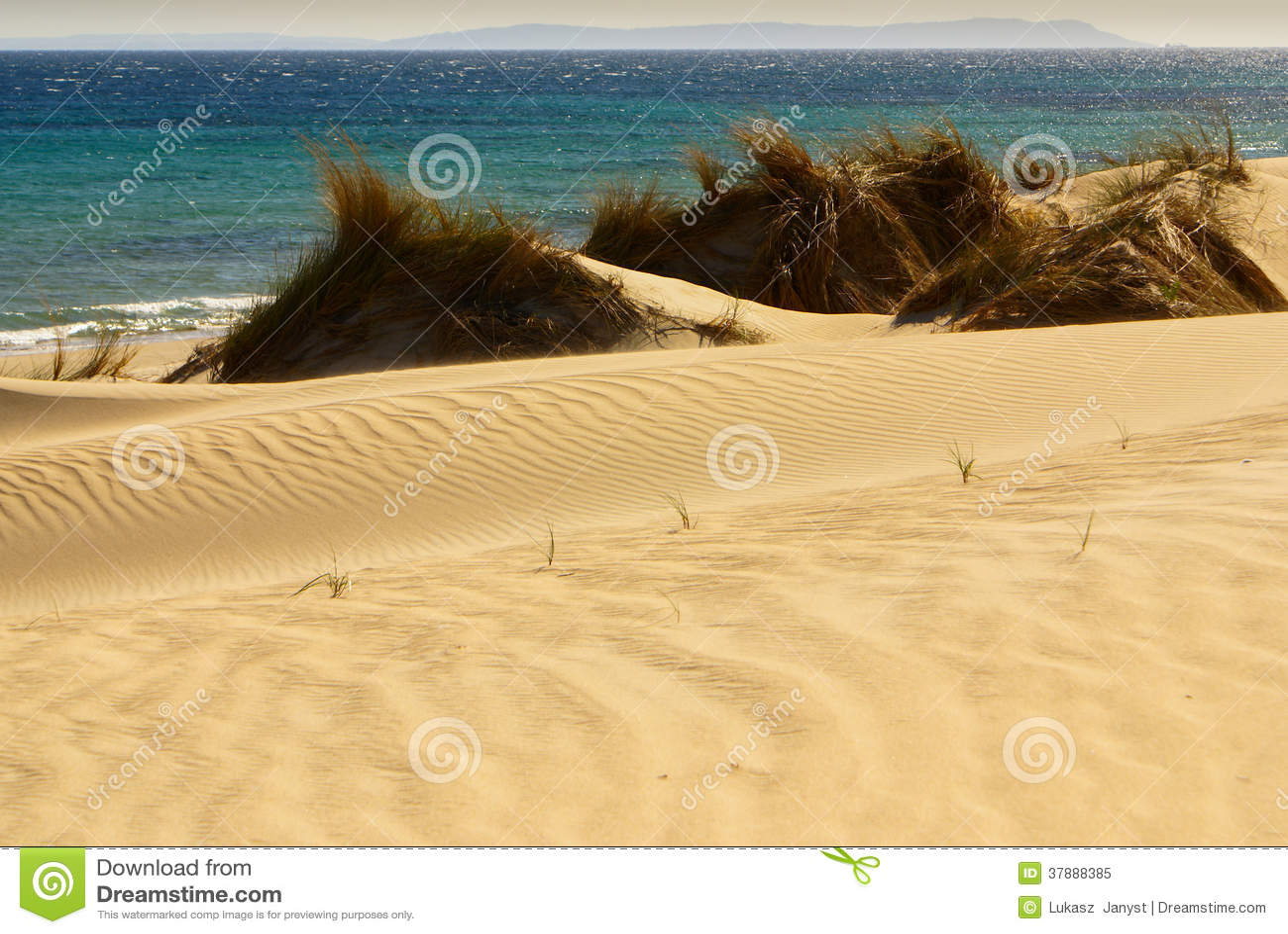 Mooie mening over strand en oceaan, Spanje, Tarifa