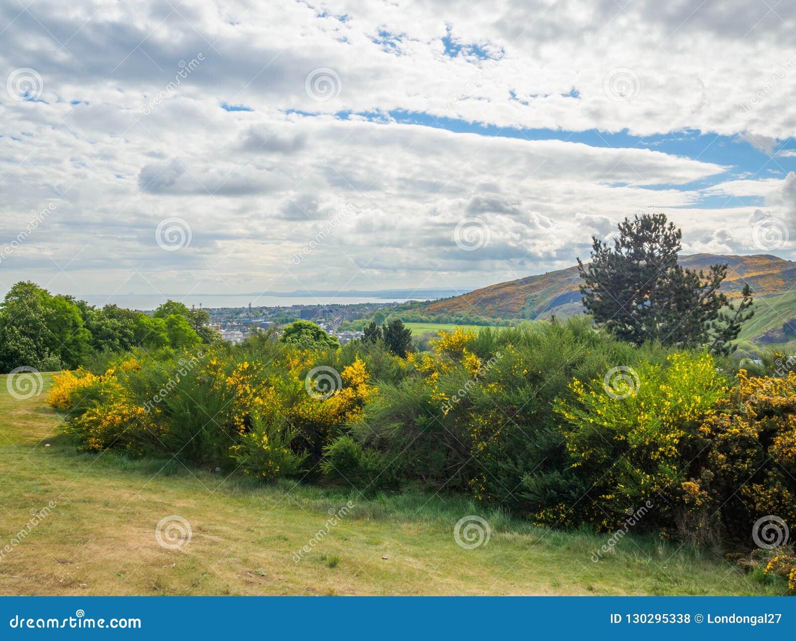 Mooie mening van Seat van Arthur in Edinburgh, Schotland, het UK van Calton-Heuvel