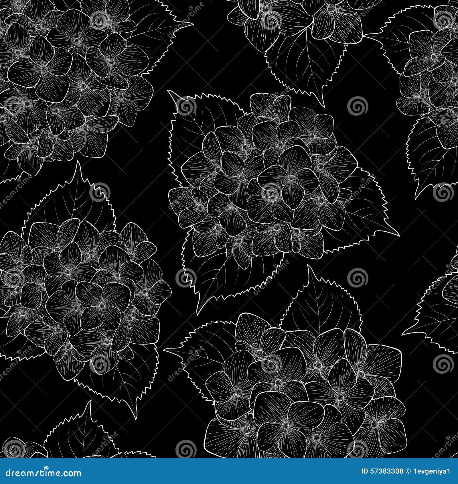 Mooie naadloze achtergrond met zwart-wit, zwart-witte bloemen