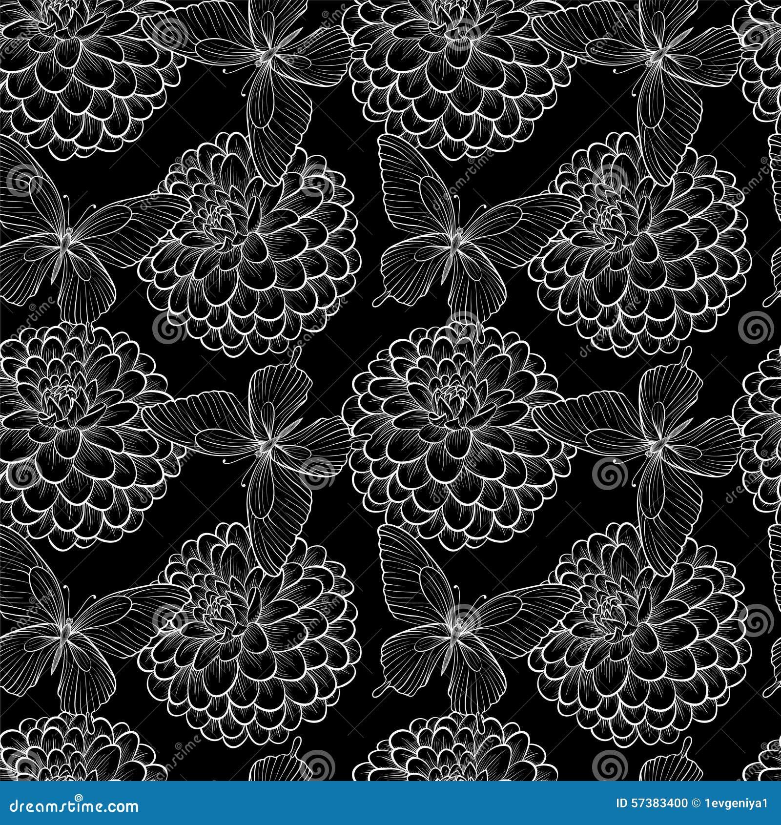Mooie naadloze achtergrond met zwart-wit zwart-witte vlinders en dahlia s