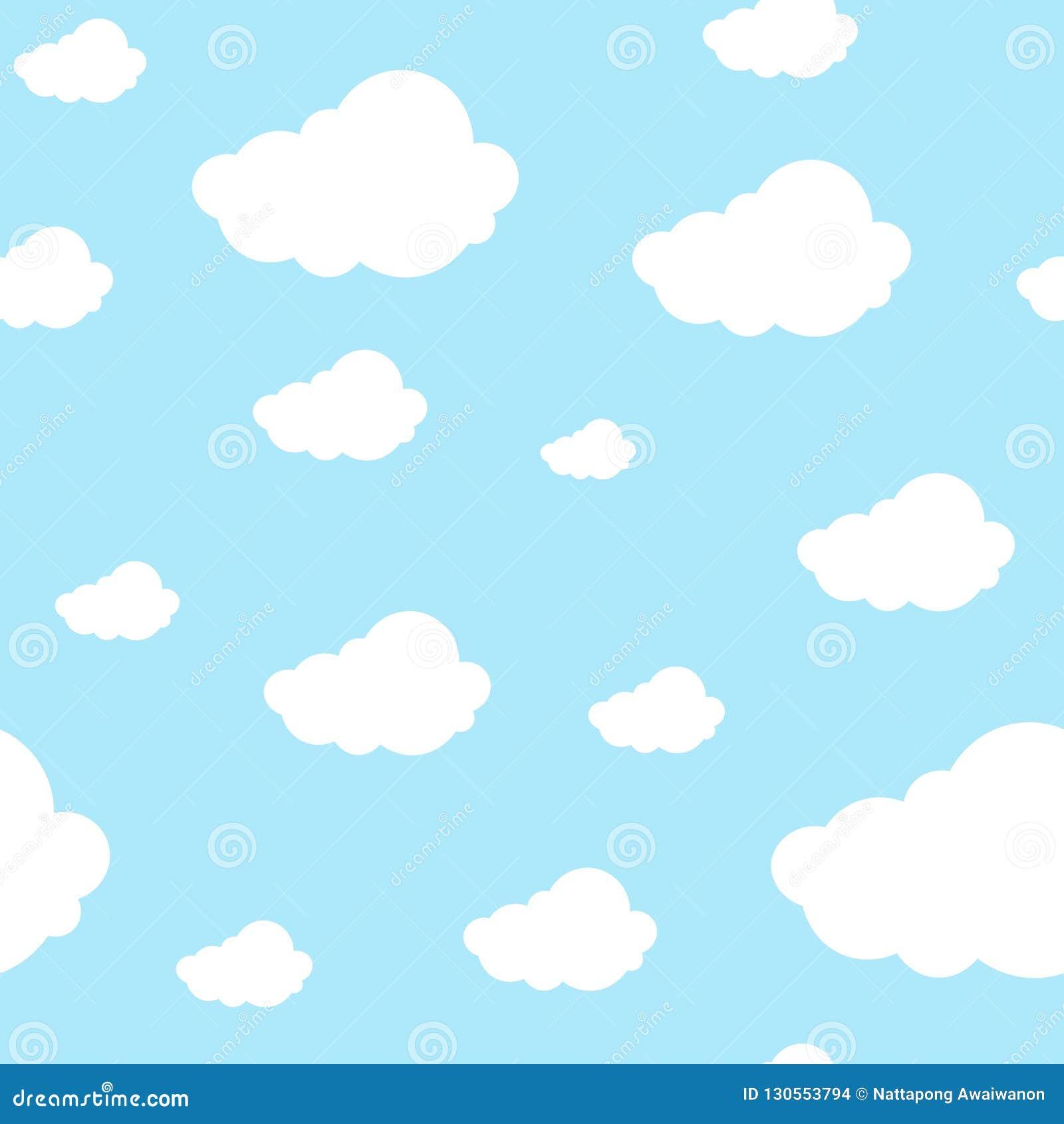 Mooie naadloze patroonwolken ononderbroken op lichtblauwe achtergrond Herhaalbaar grafisch gedrukt ontwerp voor om het even welk