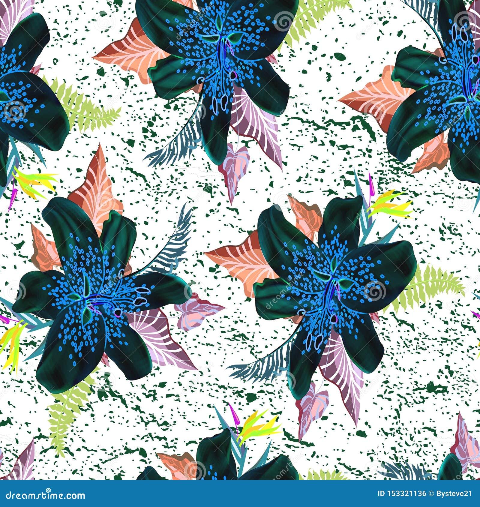 Mooie neonbloem met blad naadloos patroon