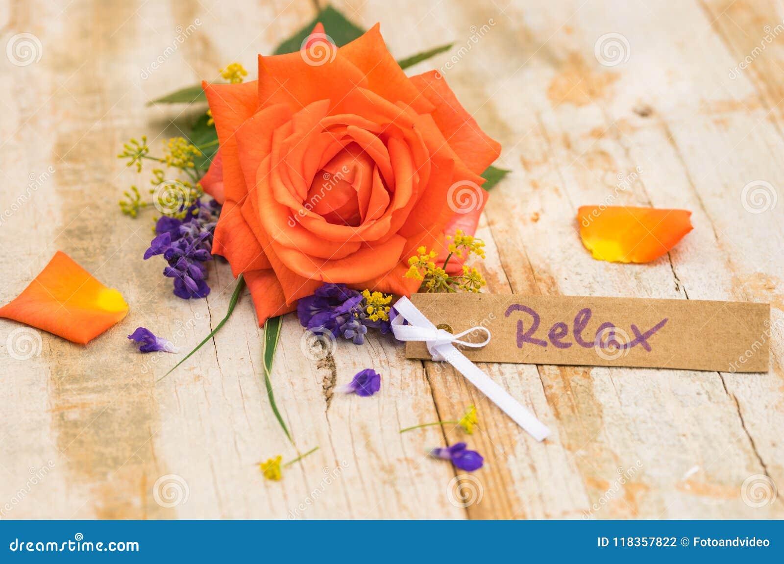 Mooie oranje nam met giftkaart, bon of coupon toe voor Relax