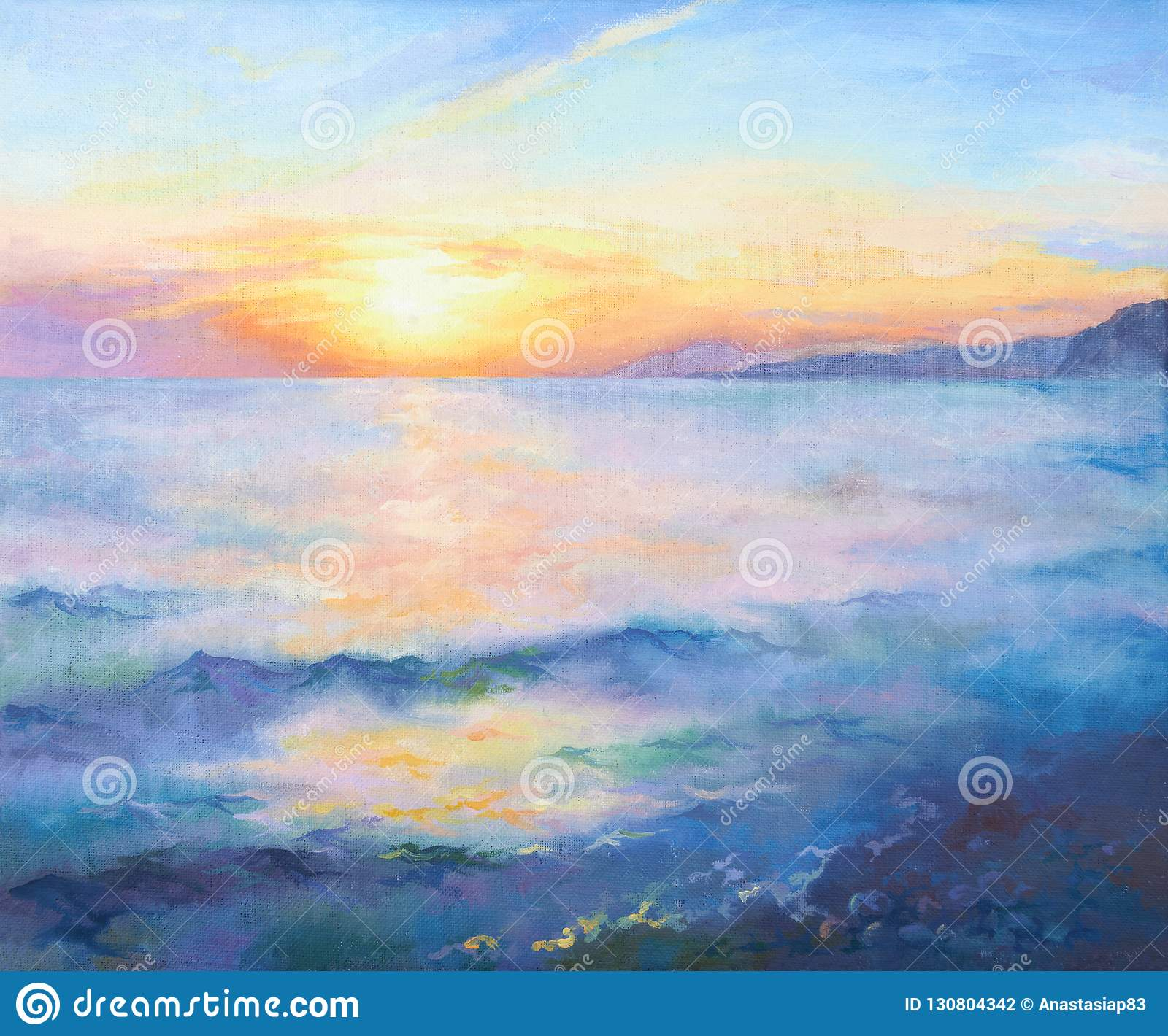 Mooie oranje zonsondergang op de Zwarte Zee