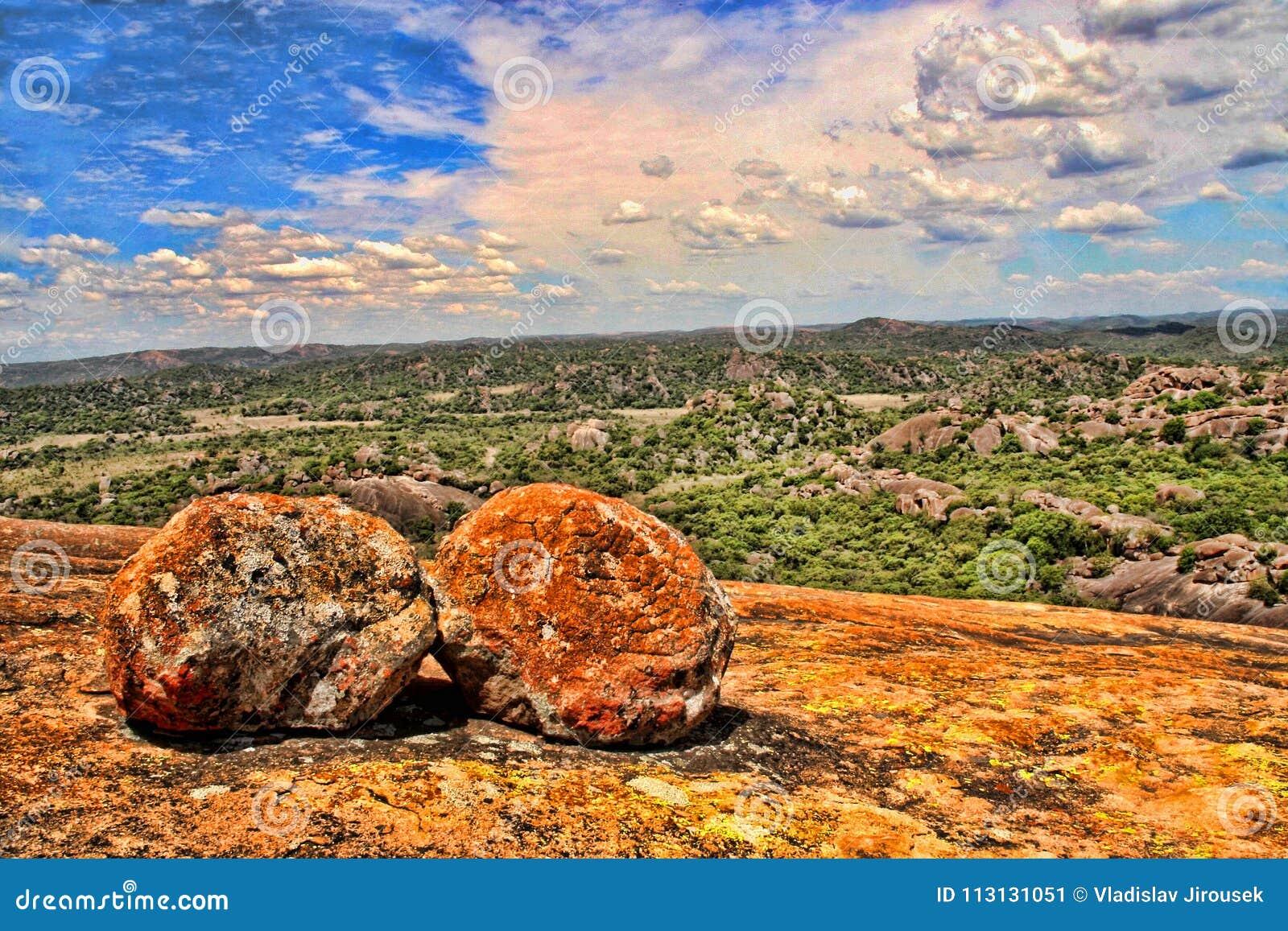 Mooie rotsachtige vormingen van het Nationale Park van Matopos, Zimbabwe