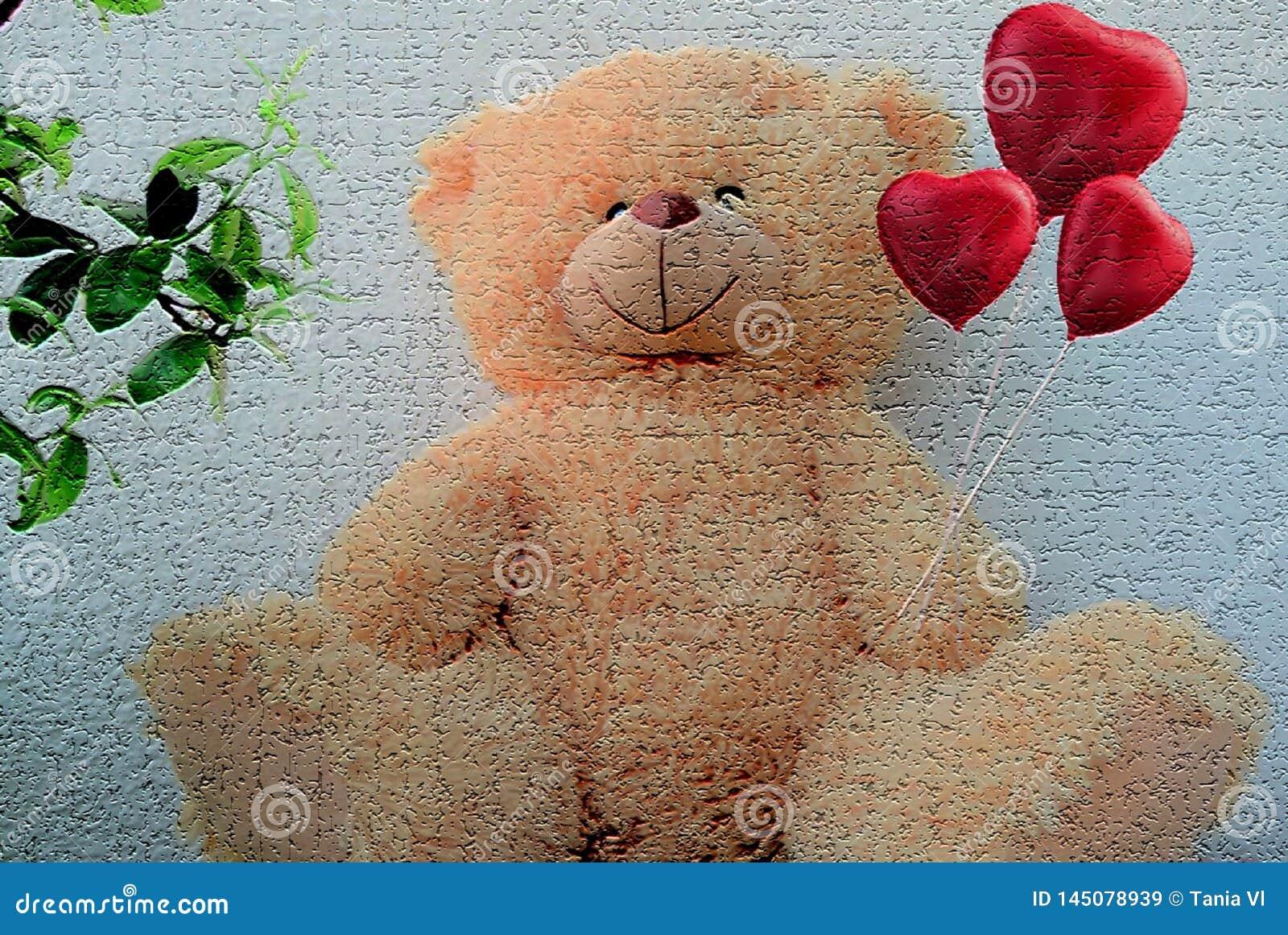 Mooie teddybeerzitting op een lichte achtergrondholdingsharten