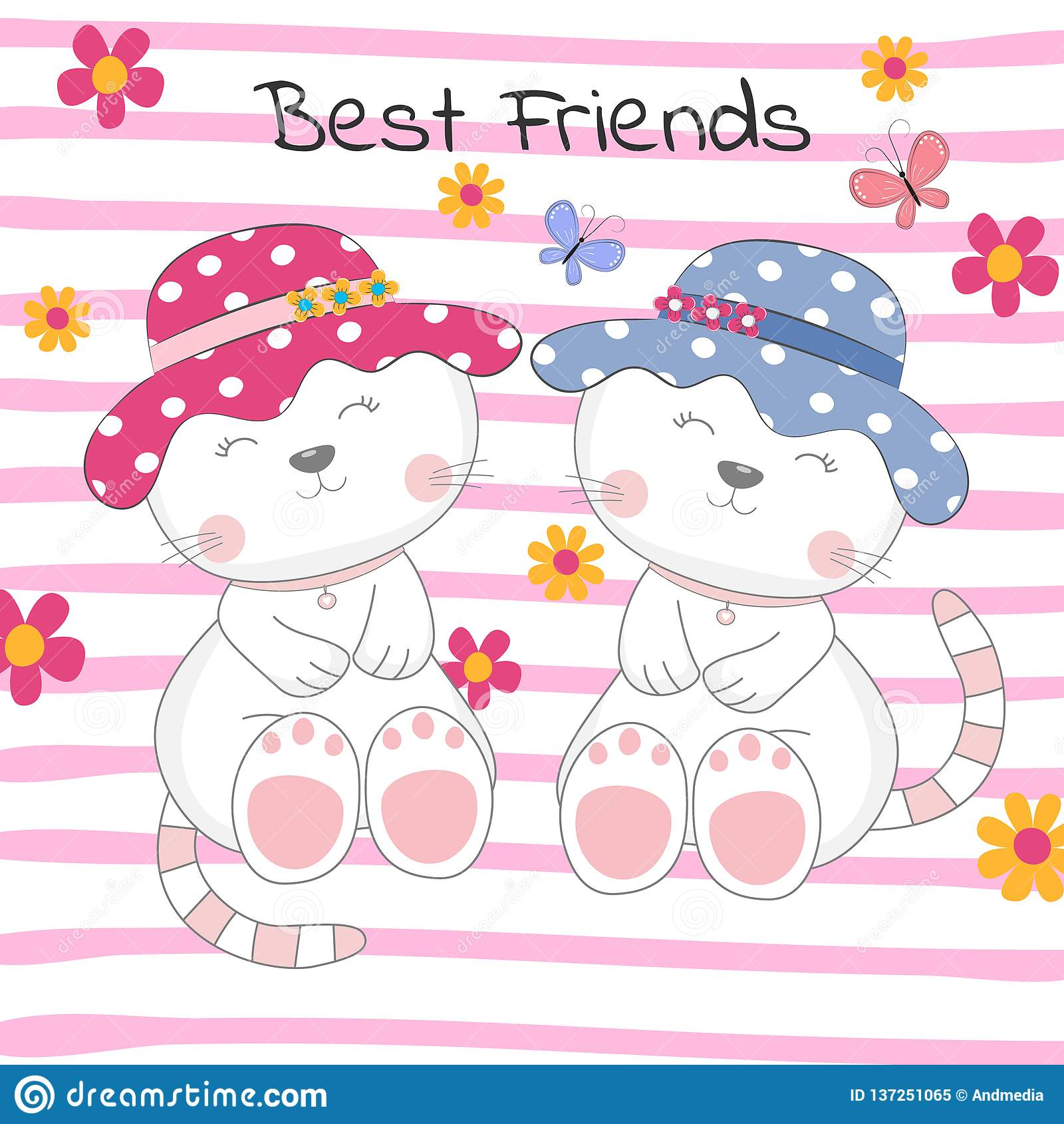 Mooie Twee Katten Met Tekst Beste Vrienden Op Gekleurde