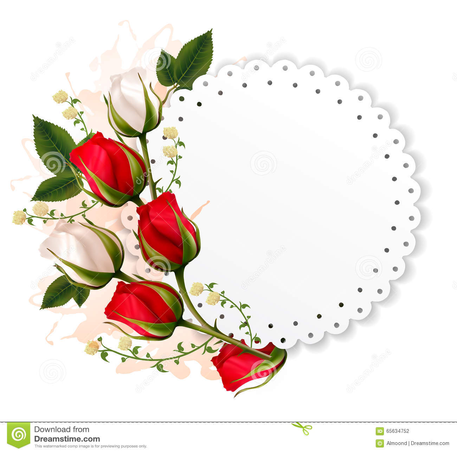 Mooie vakantiekaart met rode en witte rozen