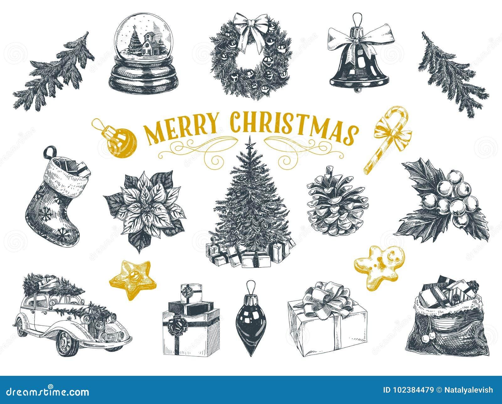 Mooie vectorhand getrokken geplaatste Kerstmisillustraties