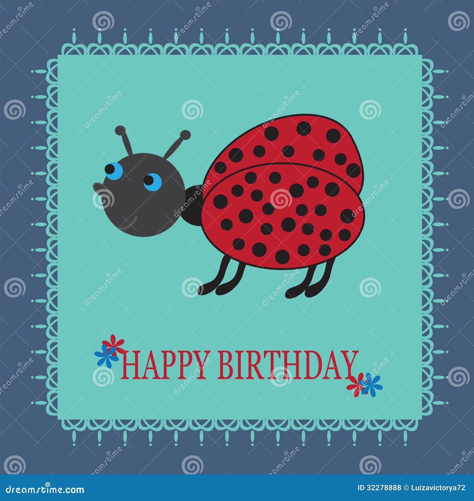 mooie verjaardagskaart met een leuke beeldverhaalladybu vector