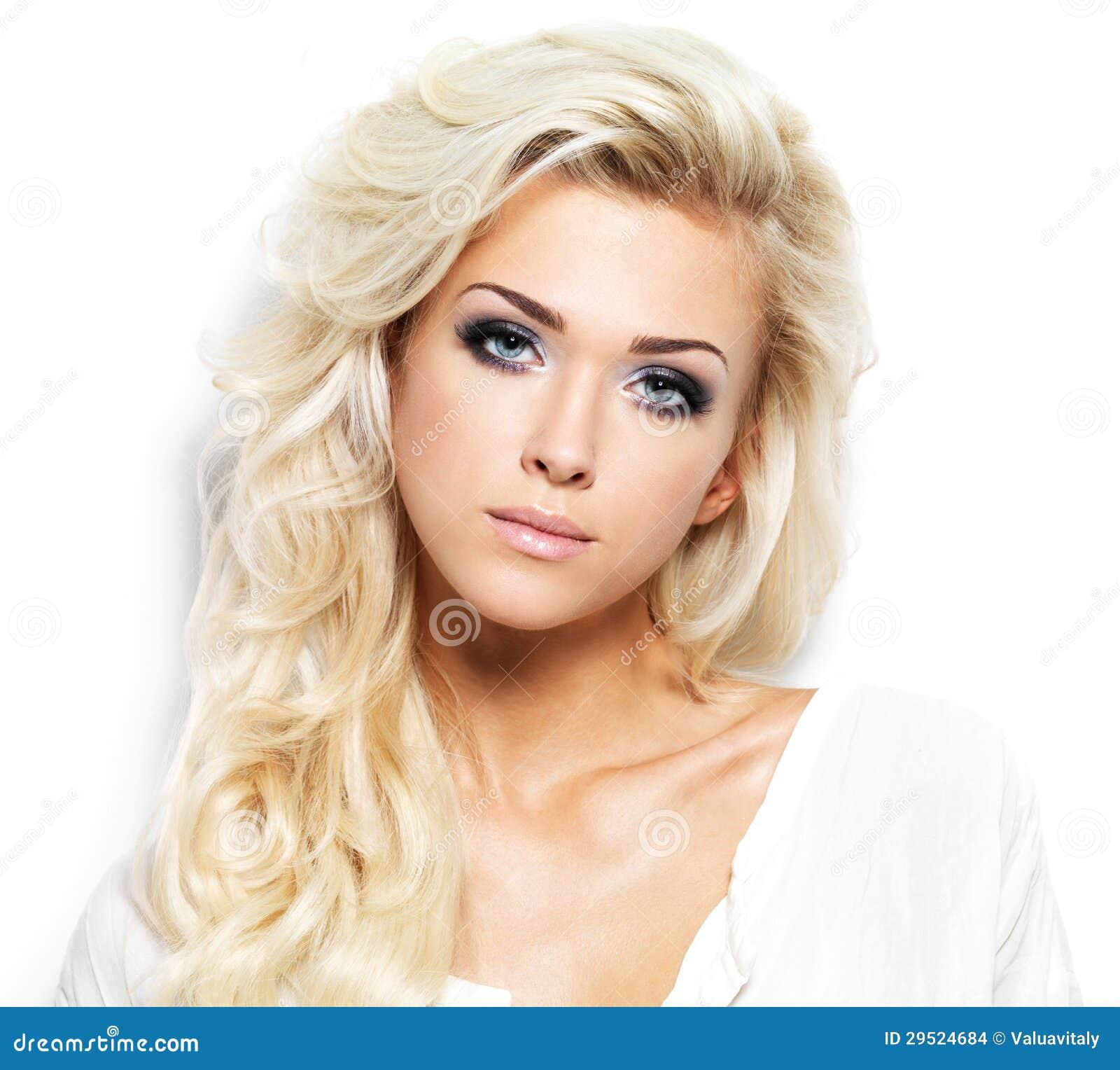 Mooie Vrouw Met Lang Blond Haar Stock Afbeeldingen