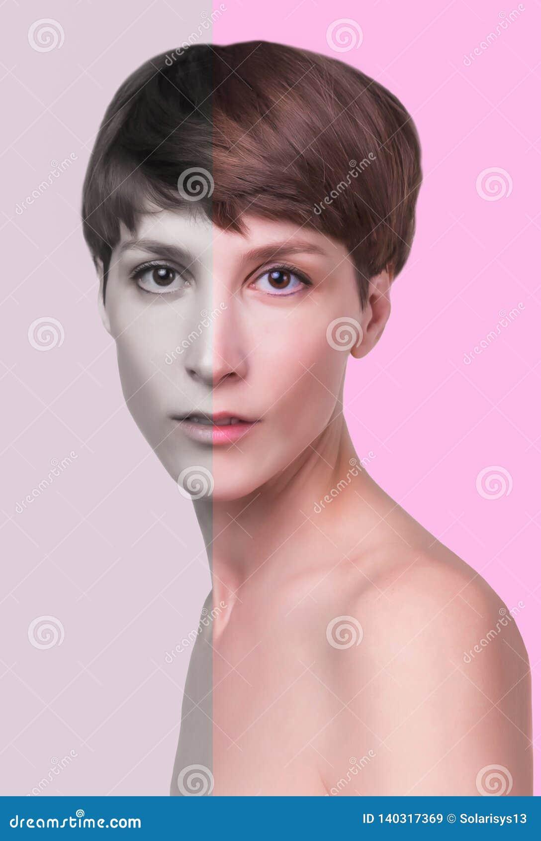 Mooie vrouwelijke gezichts dichte omhooggaand portret van jong model bij studio op wit