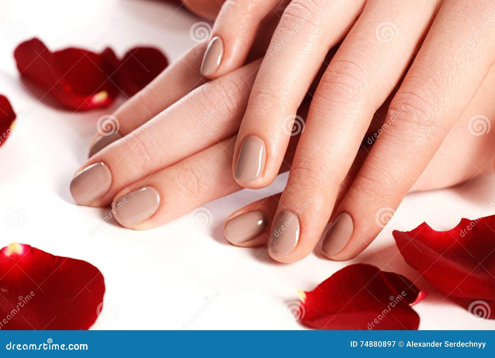 Mooie vrouwelijke vingerspijkers met natuurlijke spijkerclose-up op bloemblaadje