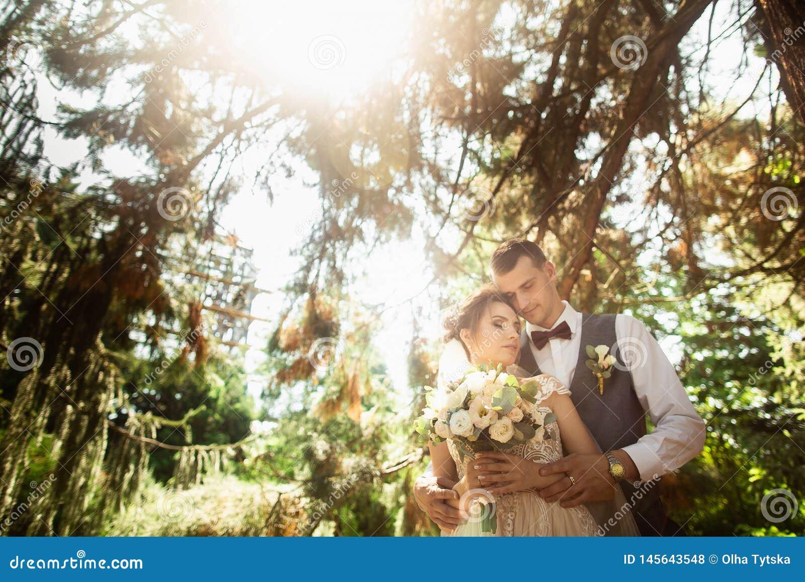 Mooie zonnige dag Huwelijkspaar het stellen op de achtergrond van aard