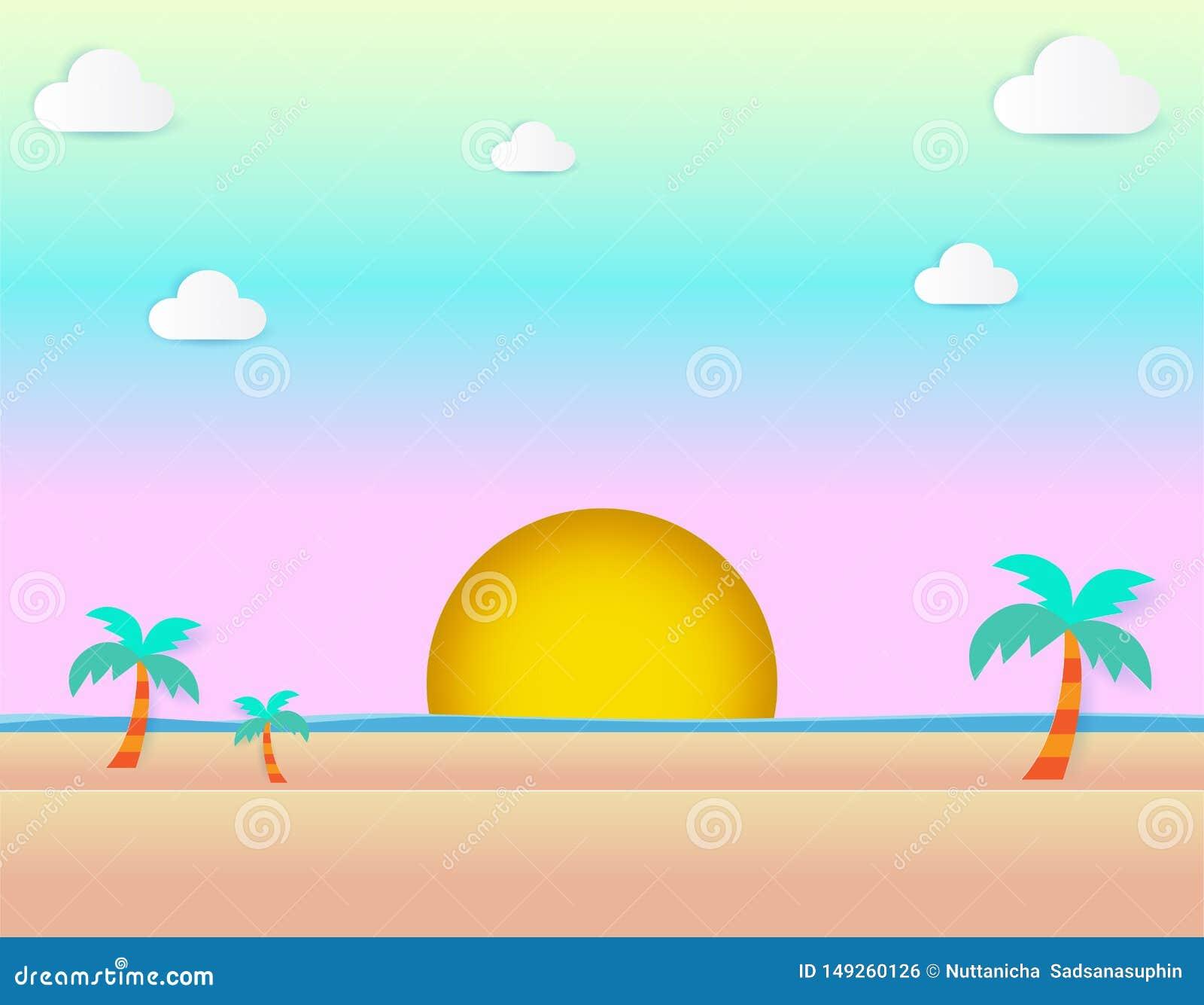 Mooie zonsondergang bij strand, overzees mening en zonsondergangzeegezicht en natuurlijke van de achtergrond pastelkleurregeling