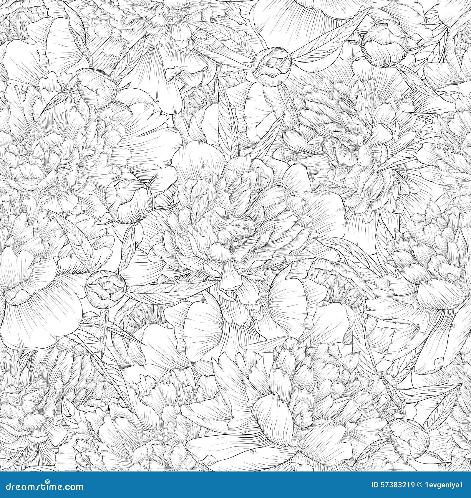 Mooie zwart-wit zwart-witte naadloze achtergrond pioenen met bladeren en knop