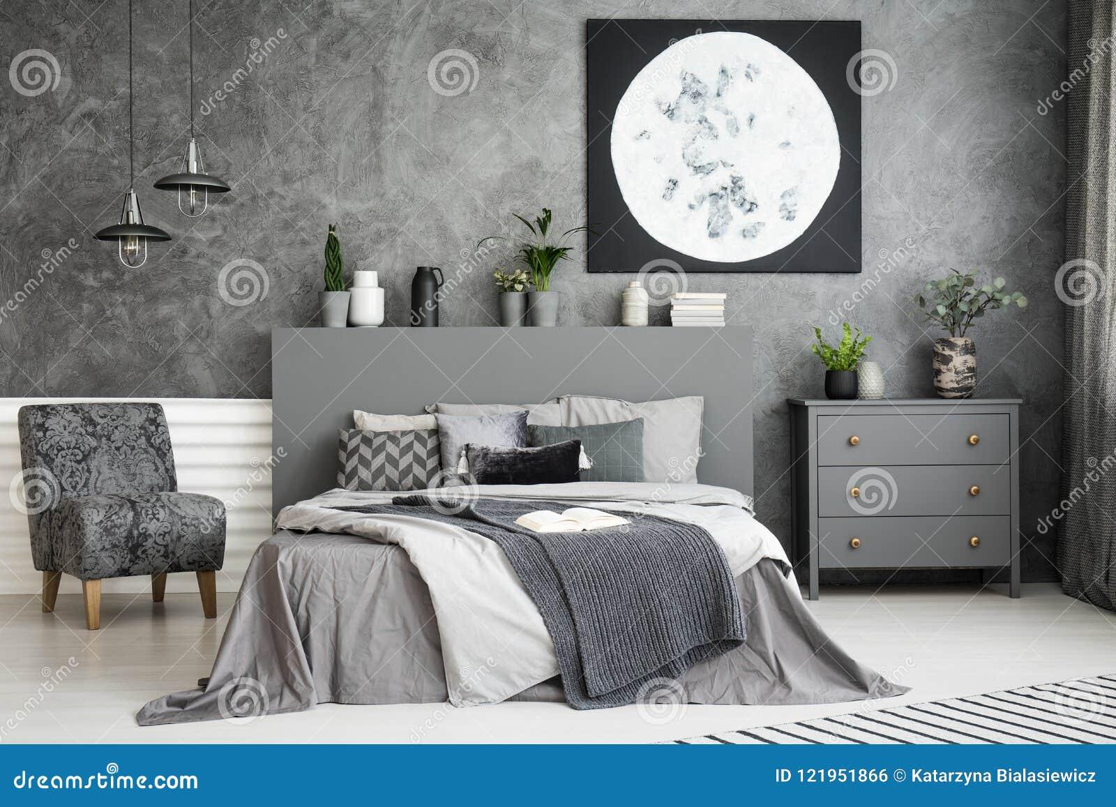 Moon Art Decor On The Wall In A Stylish Grey Bedroom ...